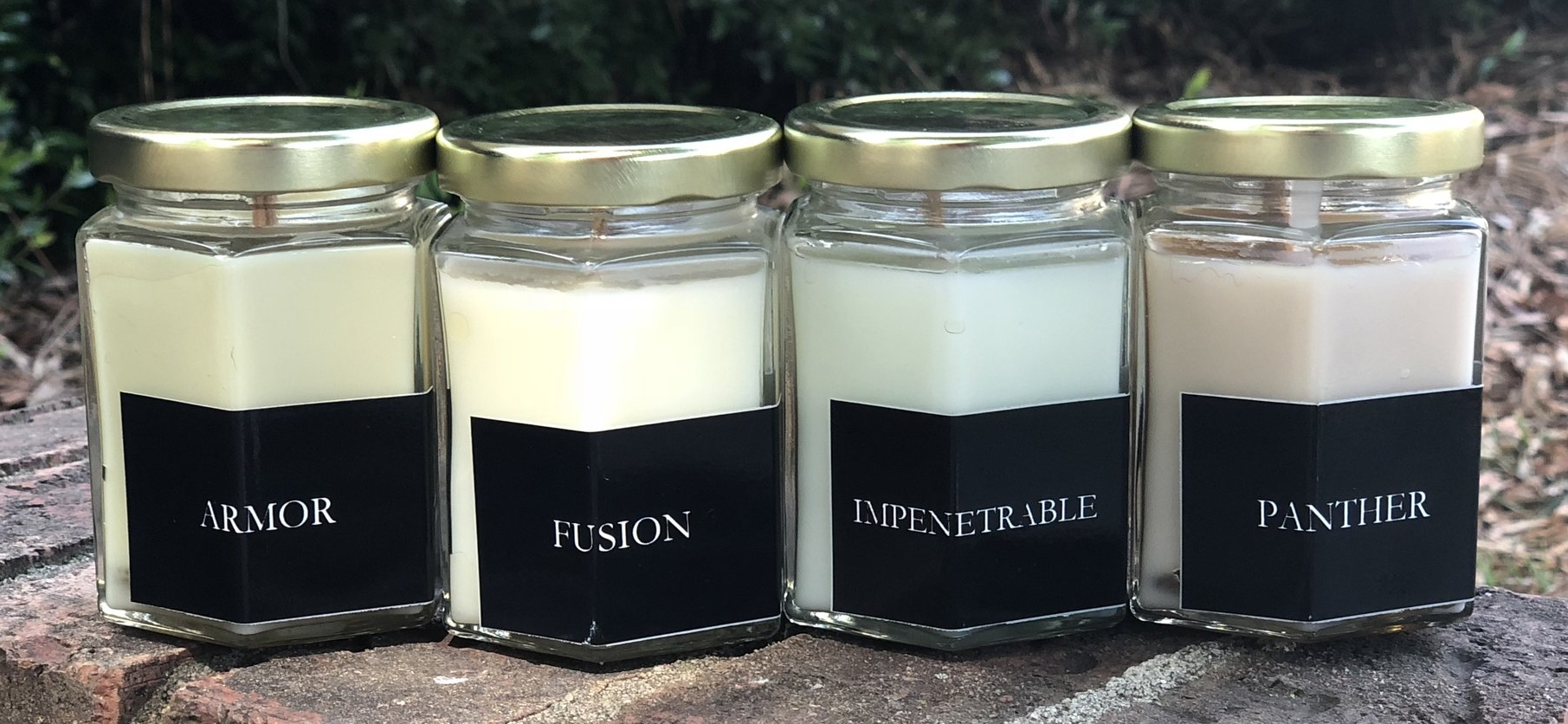 ARMOR, FUSION, IMPENETRABLE, and PANTHER - Homemade candles