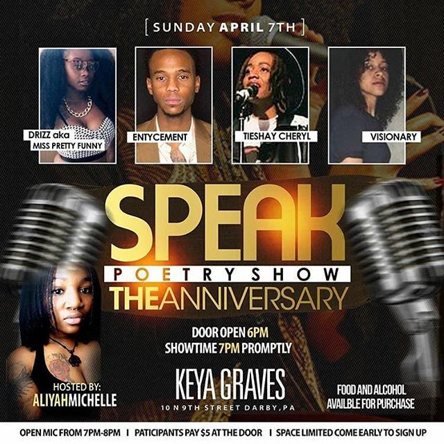 ✨Speak Anniversary Show✨ Come out this Sunday April 7th 2019 to help celebrate. We will have music by the band @planet.md and a host of other talent. Enjoy poetry from @entycement @visionaryy_ and @tieshaycheryl and for the first time EVER we have a female comedian gracing the stage our special feature for that night will be @drizzbrwbeauty aka Miss Pretty Funny. The show will be held @keyagraves 10 N 9th Street Darby PA 19023. Early bird tickets are on sale now for $15 online and $20 at the door. If you'd like to sign up for open mic admission is only $5 at the door but space is limited! First come first serve! *ALL FORMS OF ARTISTRY ARE WELCOMED* Alcohol and food will be available for purchase and we have some great vendors in store!!! Bring a friend and come have some fun as we celebrate Speak Poetry Show turning 1️⃣🎉 #tieshaycheryl #speakpoetry #openmic #Philly.  #tieshaycheryl #poet #writer #artist #speakpoetry