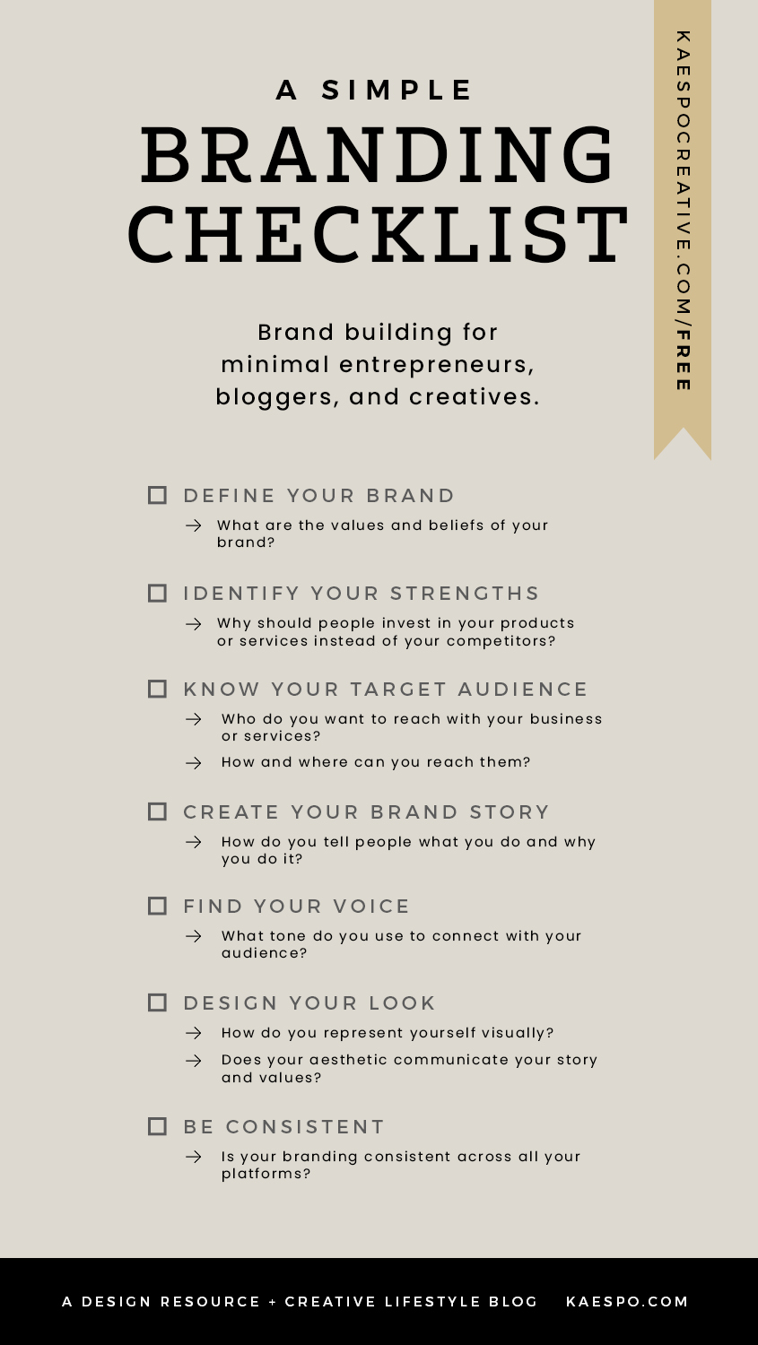 What is a Brand and Do I Need One - Free Branding Checklist by Kaespo | Minimal Design, Lifestyle, & Creative Services