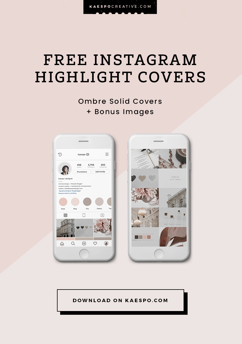 Blush Pink Ombre & Solid Color Instagram Highlight Covers KAESPO
