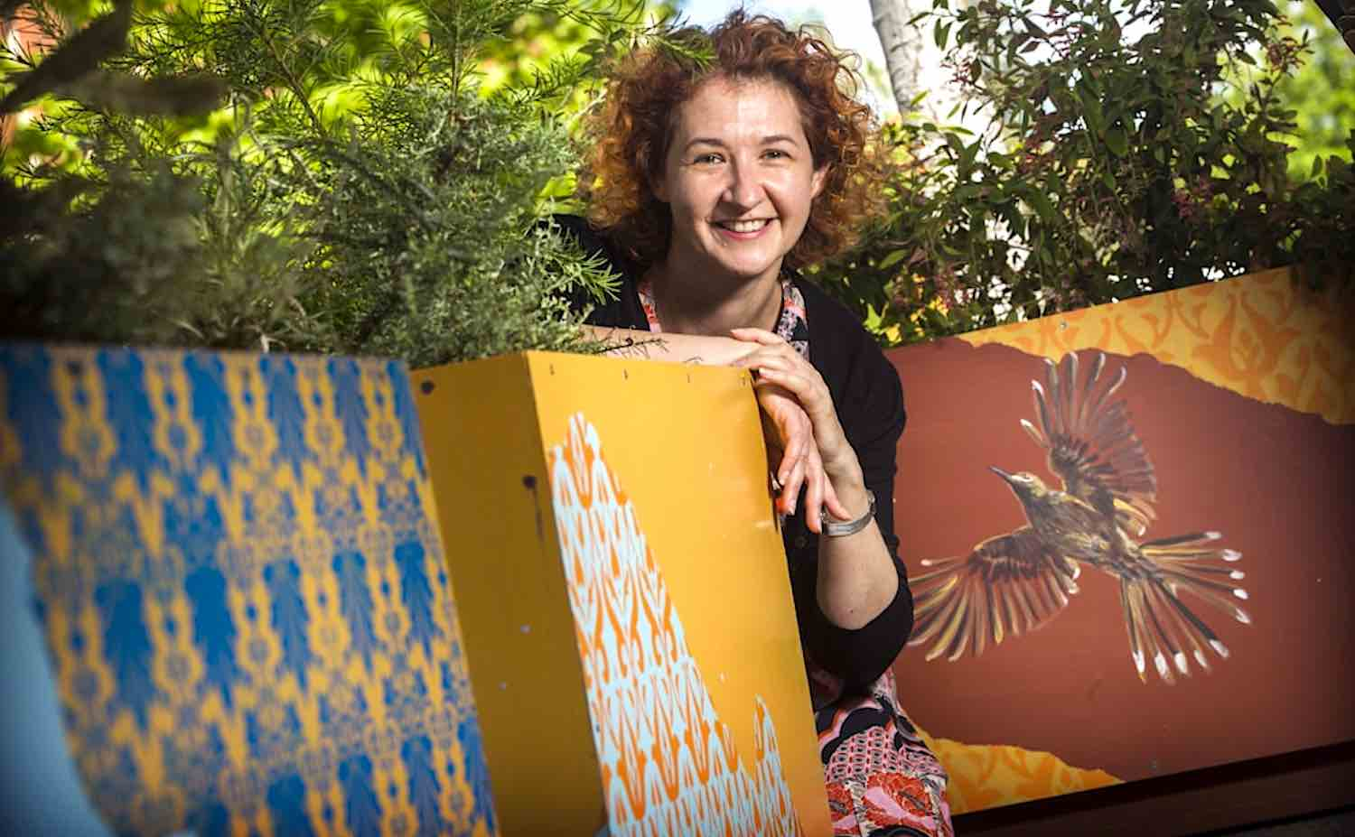 Artist Clare McFarlane with her winning works, outside the Miss Maud hotel & restaurant - corner of Murray & Pier streets, Perth. Photo by Simon Santi
