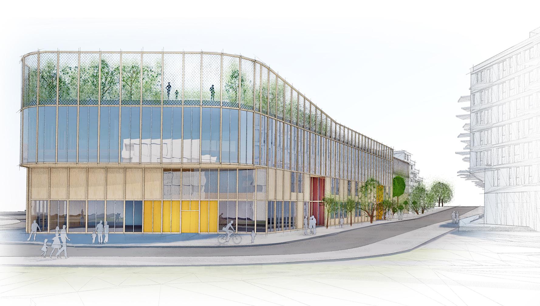 Planforum Arkitekter_Bjørvika skole_Perspektiv fra Kongsbakken.jpg