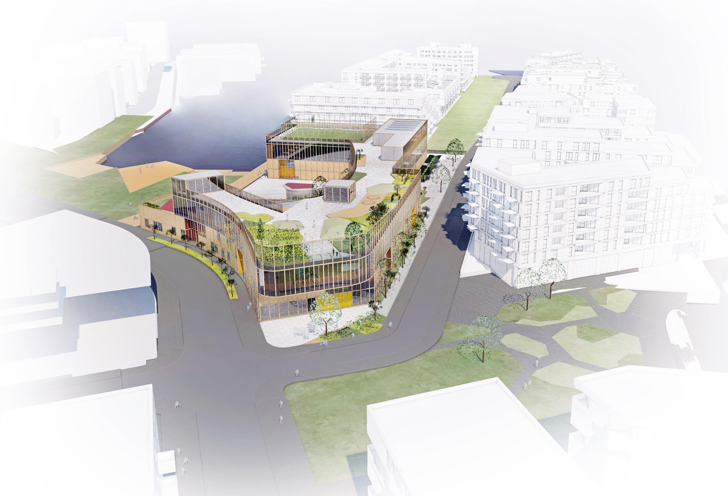 Planforum Arkitekter_Bjørvika skole_Fugleperspektiv fra Kongsbakken.jpg