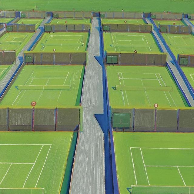 "In honor of our very first IG post & @rogerfederer winning the semi- finals @wimbledon 🎾 today, heres the ultimate appreciation post: ""The Outside Courts at Wimbledon"" by the 1 and only #wanyethiebaud"