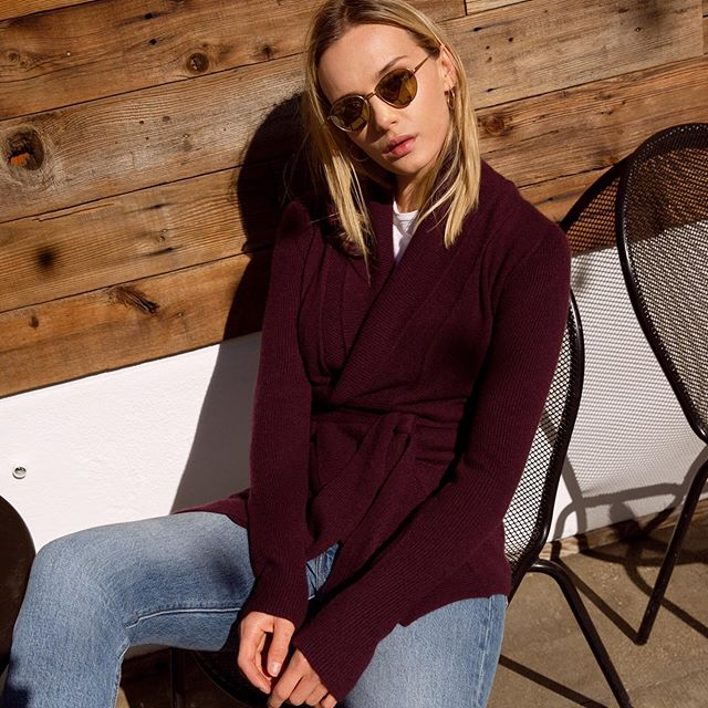 Our Devon knit in a beautiful Iris hue. Perfect for keeping you cozy on those chilly summer nights.