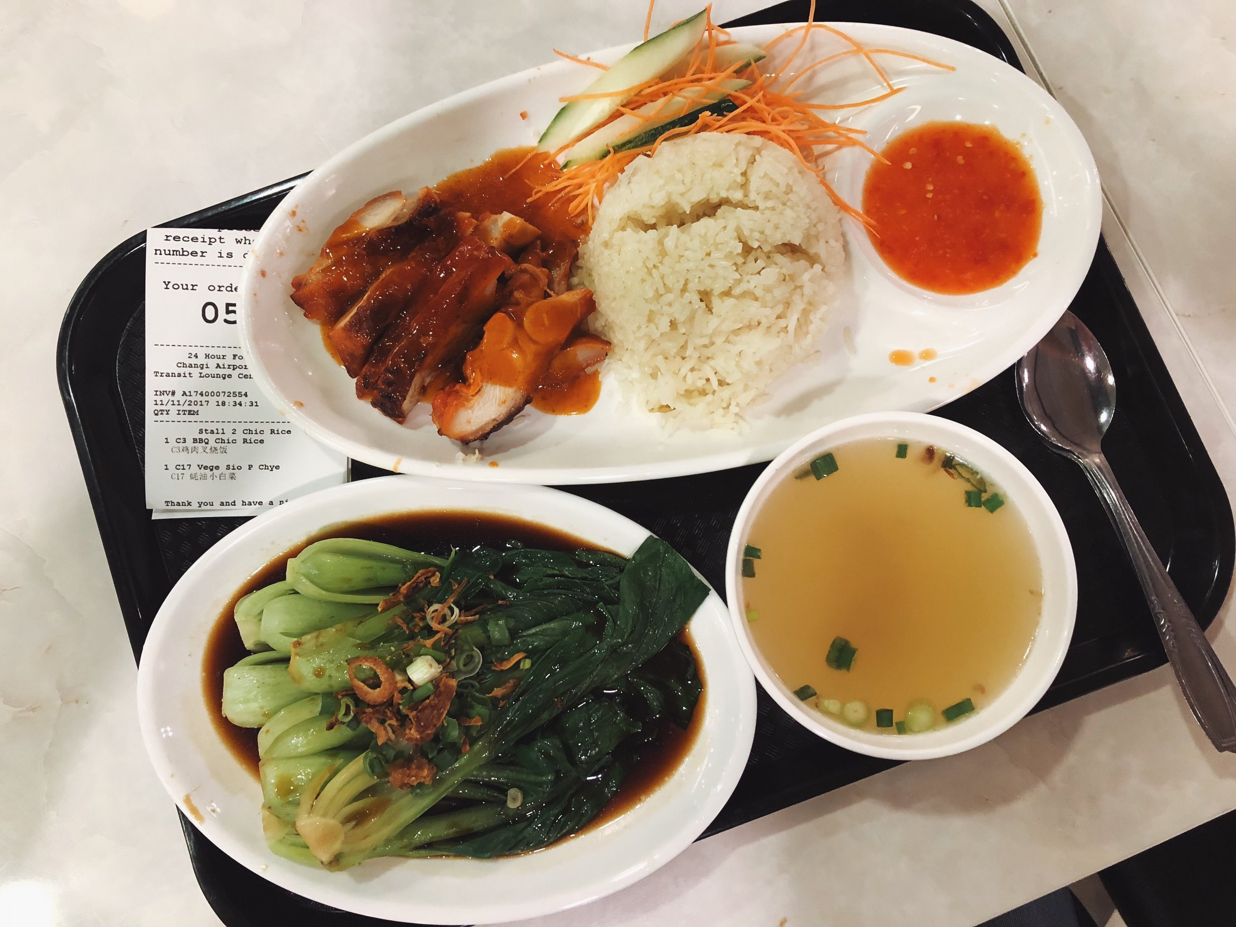 - Even after the 40 minute MRT ride back I had some time to spare in the airport, and indulged in more chicken rice.