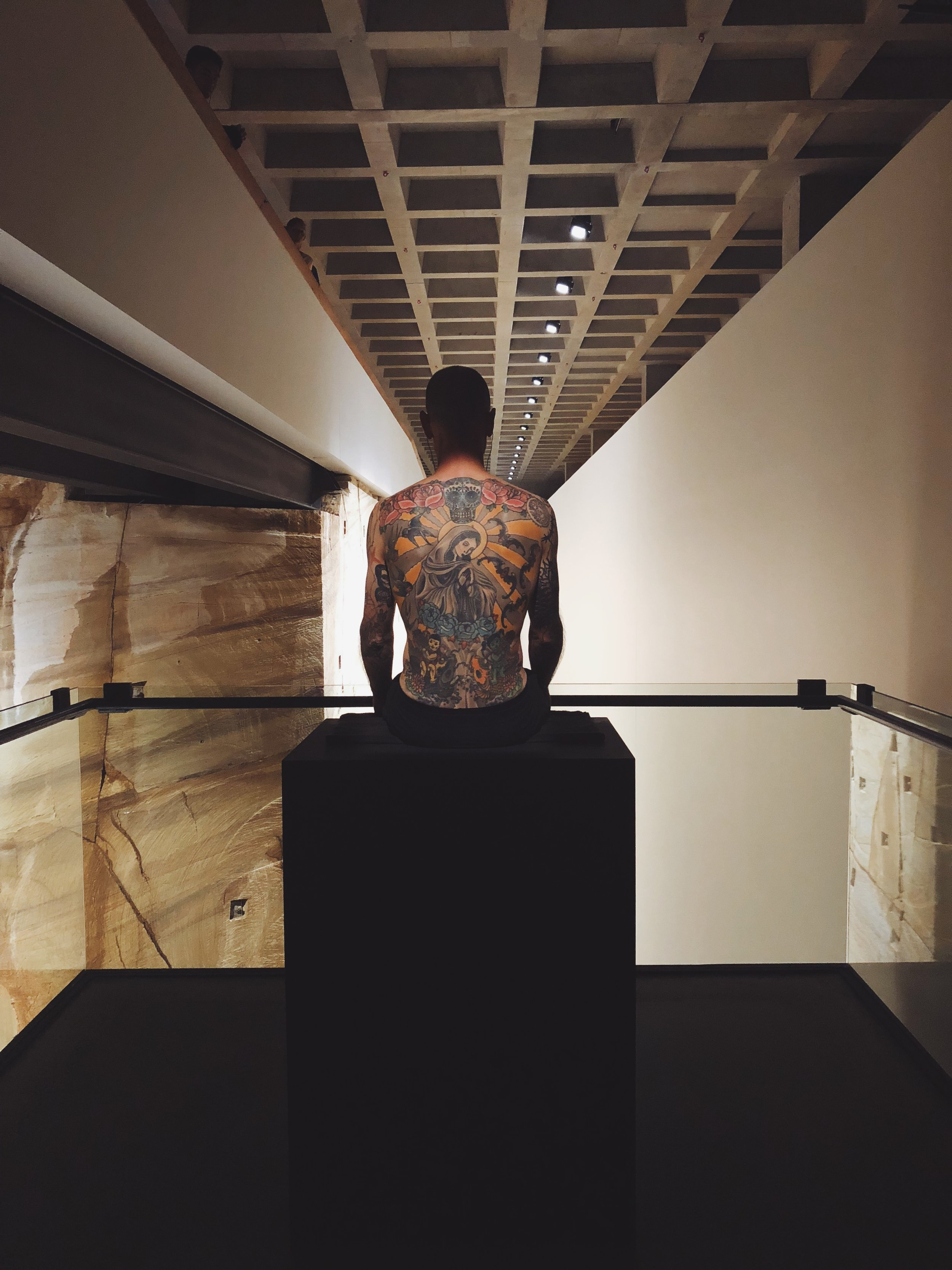 This is Tattoo Tim. His tattoo, and therefore his skin, have been  purchased by an art collector . *Side note that I do not feel good about the pigs being tattooed in that article.