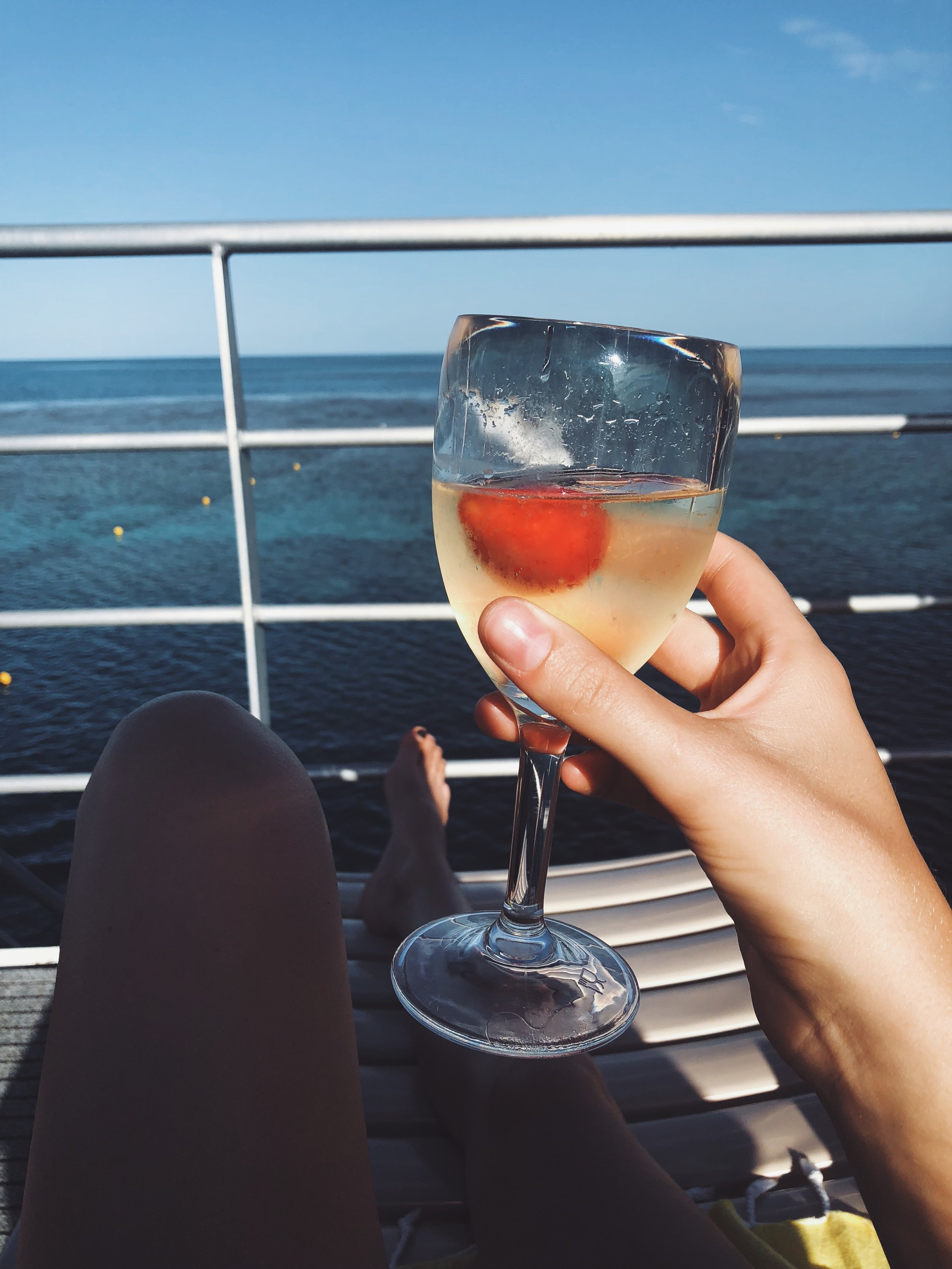 - The best part of the day was when the crowd loaded back up on the vessel, we popped a bottle of prosecco, and princess waved as the boat sailed away and left us alone on the pontoon in the middle of the ocean!