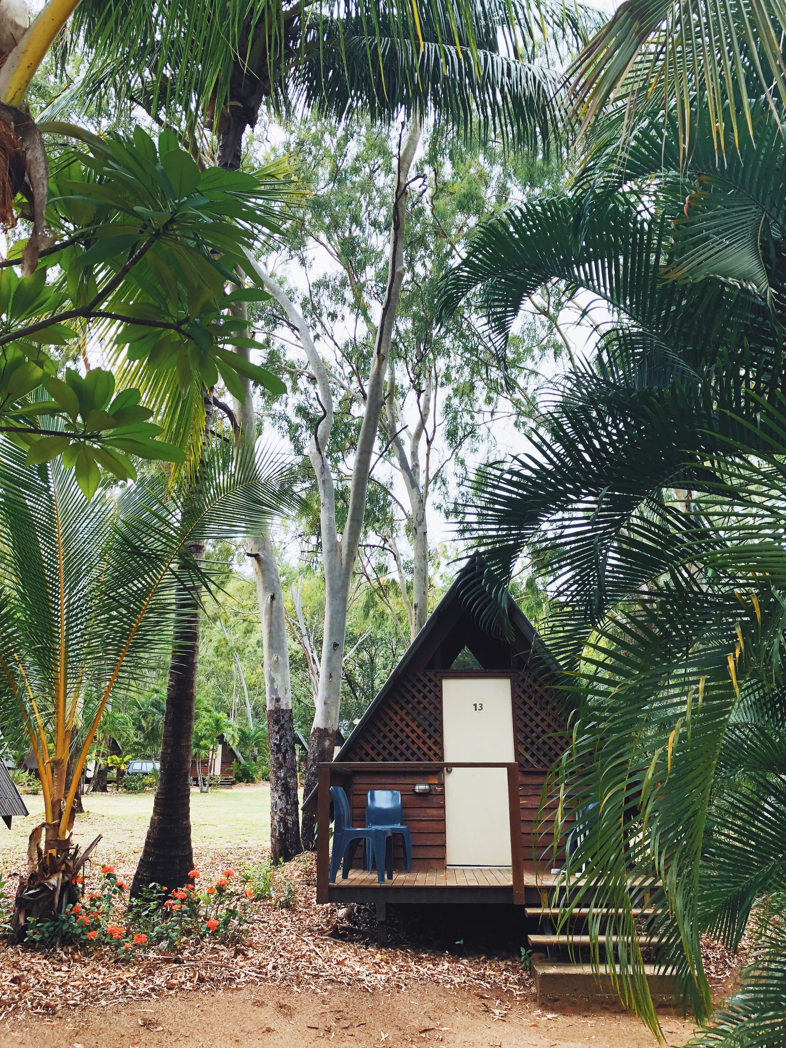- We decided to stay in a private bungalow, which was small but had everything we needed with 2 bunk beds and a small fridge. The bathroom was a short walk up the footpath, and the room had a fan but no A/C.