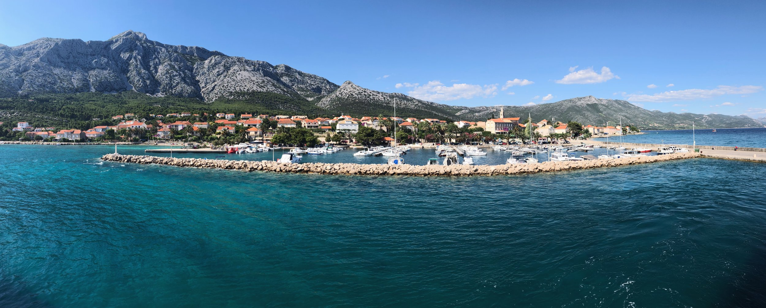 View of Orebic from the departing ferry.