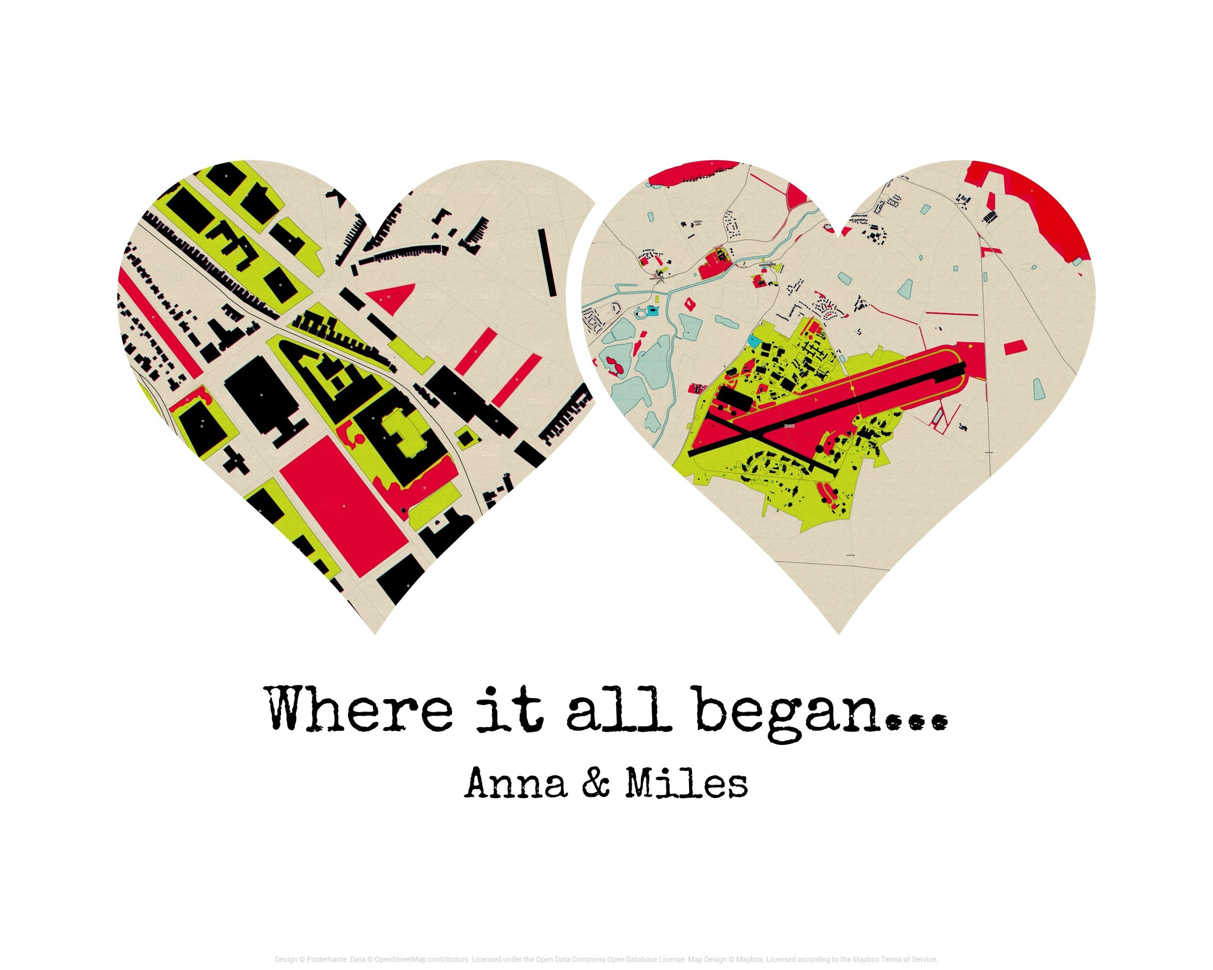 - Dual heart map print: Get creative and use this design to illustrate key moments in the couple's relationship - such as where they were living when they met, places they have lived and locations relevant to the big day. We also offer a heart map where you can focus on one location.
