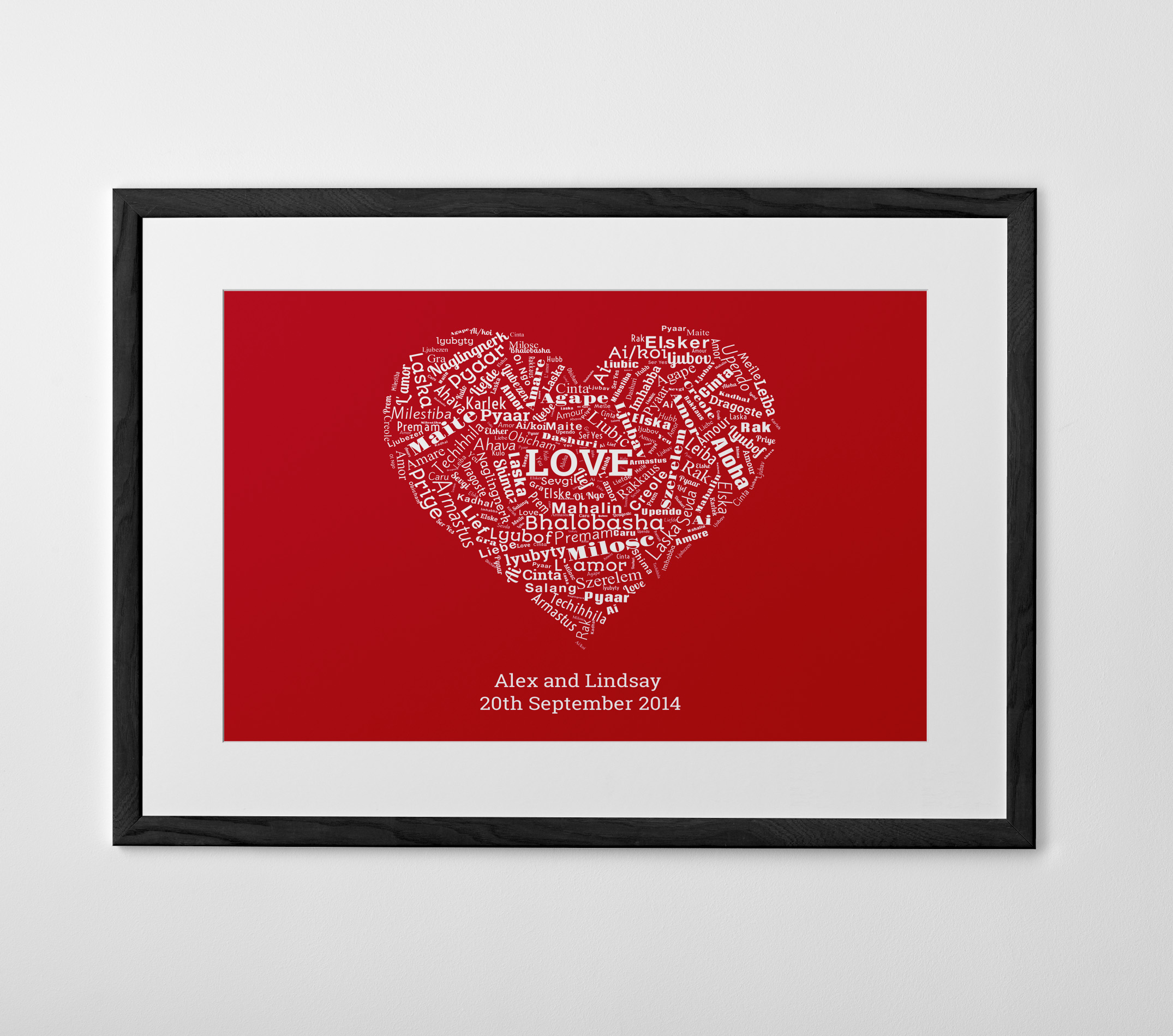 - Word shape:See your words for the special couple transformed into a special gift. This is the ideal way to illustrate the couple's journey together, or to create a piece of wall art packed with romantic sentiments.