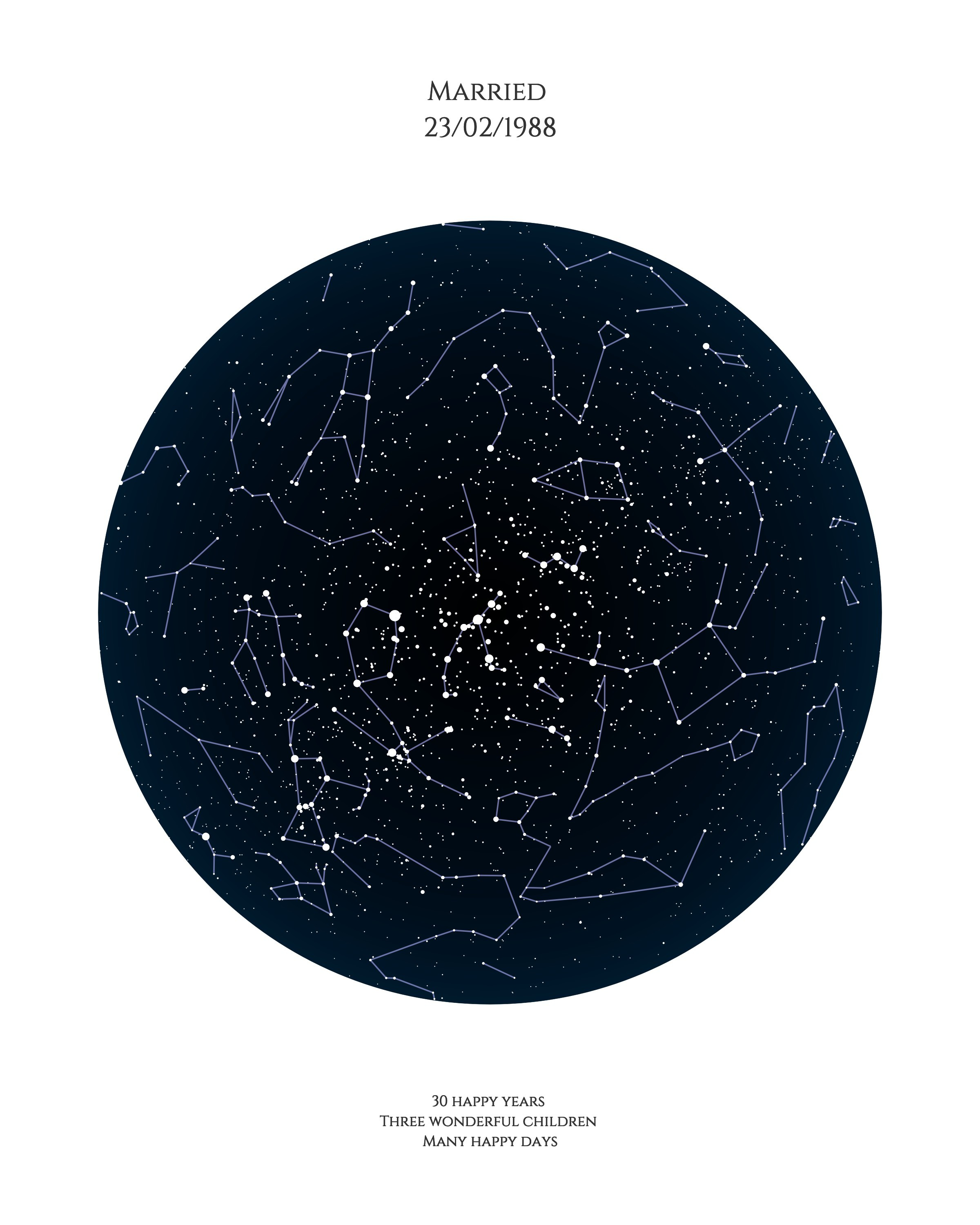 Star map - Use our star map design to celebrate a special occasion which means a lot to mum. As well as capturing the constellations in the sky,you can personalise this design with dates, quotes and captions for a meaningful Mother's Day gift.