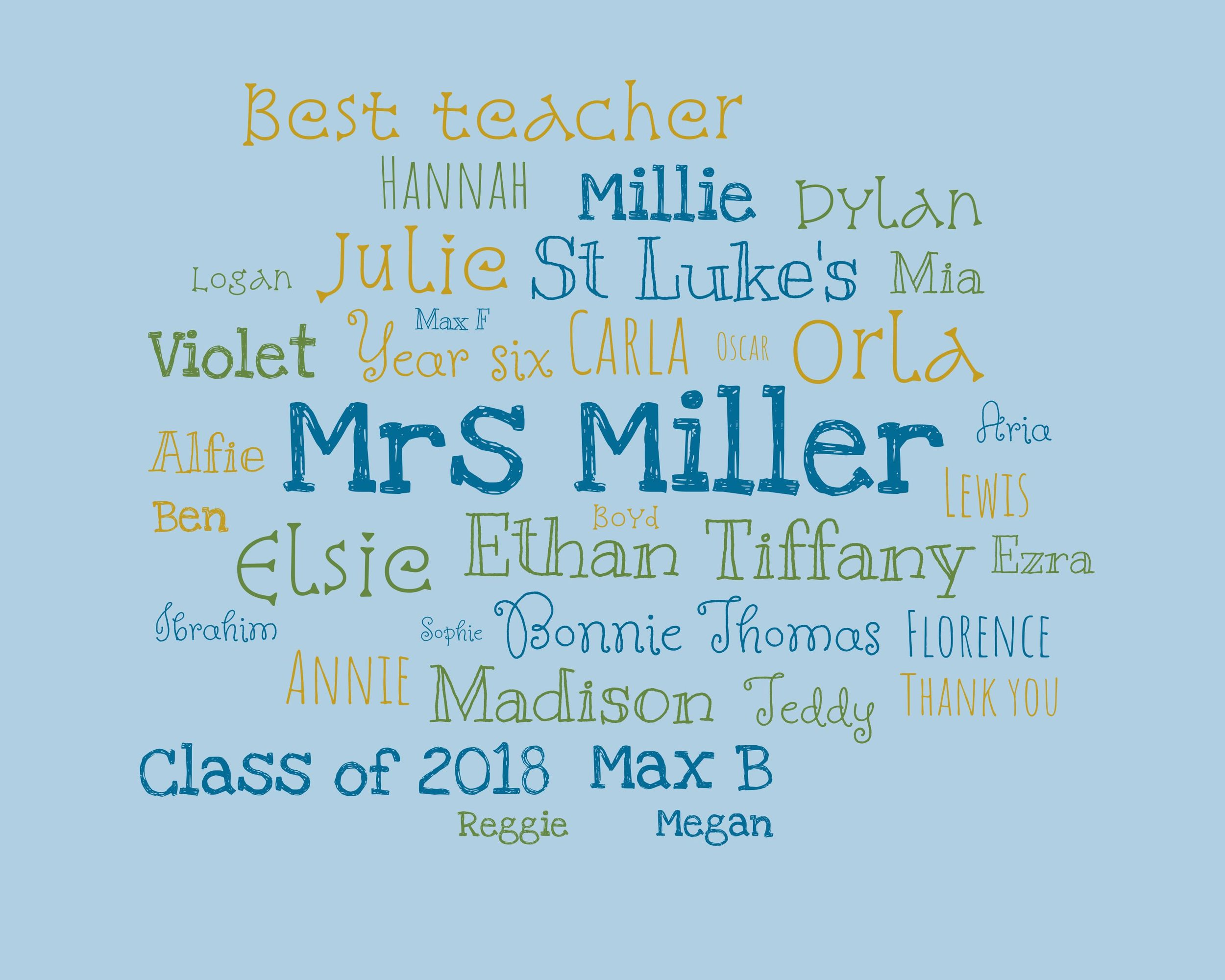 Word Cloud - Here's a sweet way to say thank you to a cherished teacher. Use the design to commemorate a particular class and the highlights of your time together