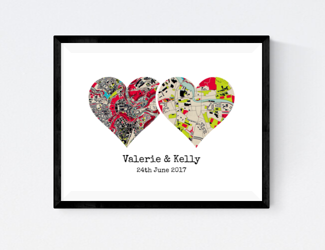 Dual Heart Map Print - Chart two places that mean the world to you both. There are six map styles to choose from to further customise your personalised wall art and a caption to capture romantic sentiments.