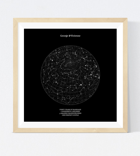 Star Map - Capture the constellations in the night sky at the precise moment you tied the knot by selecting the location of the ceremony, the date and time. Use the text fields to record all the key information about the day, or pen a romantic message for your other half!