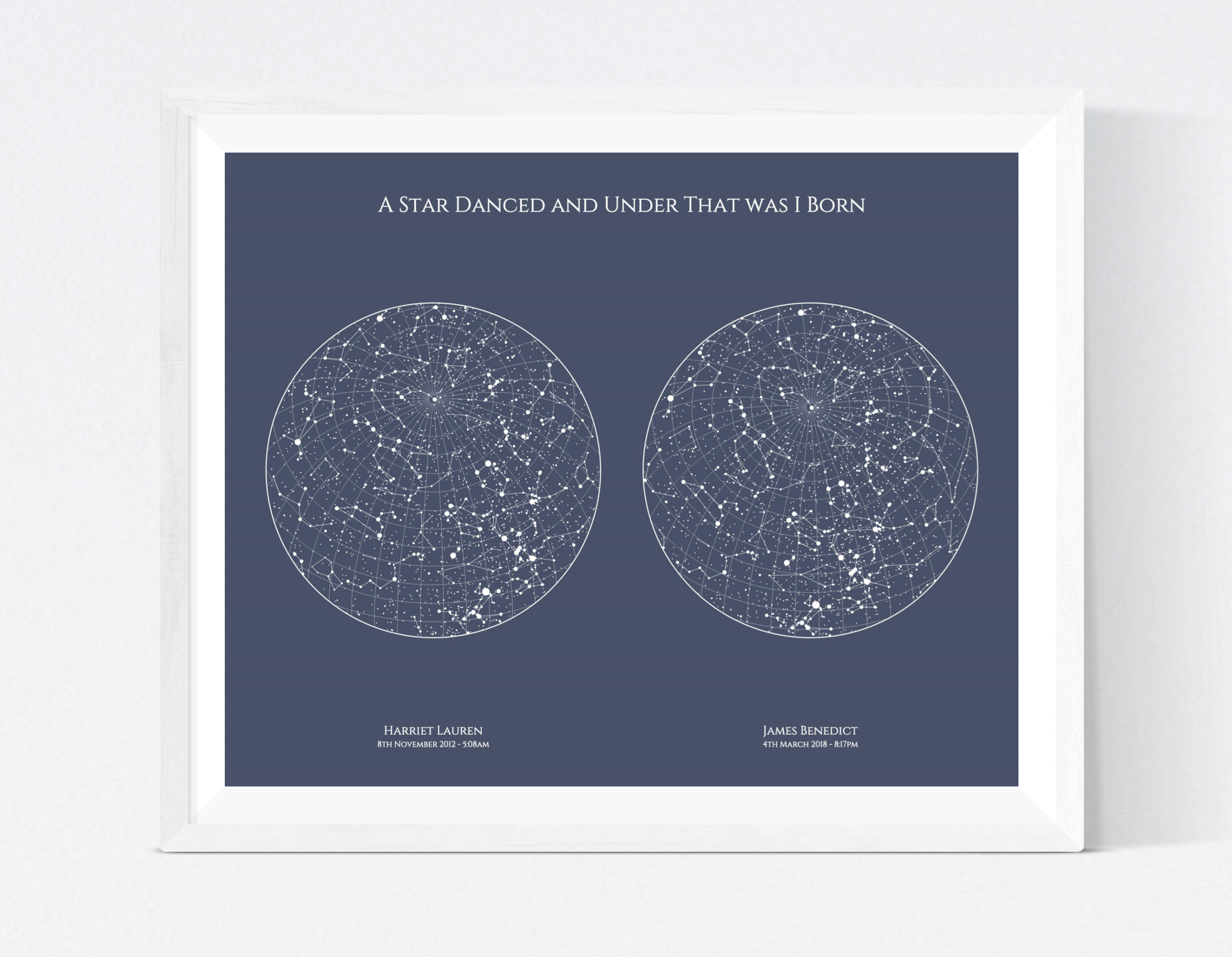 Dual Star Map - Join two important occasions on one beautiful piece of wall art. This flexible design is the ideal way to surprise a loved one this Christmas. The headline can be personalised as you wish - we think a favourite quote always works well!