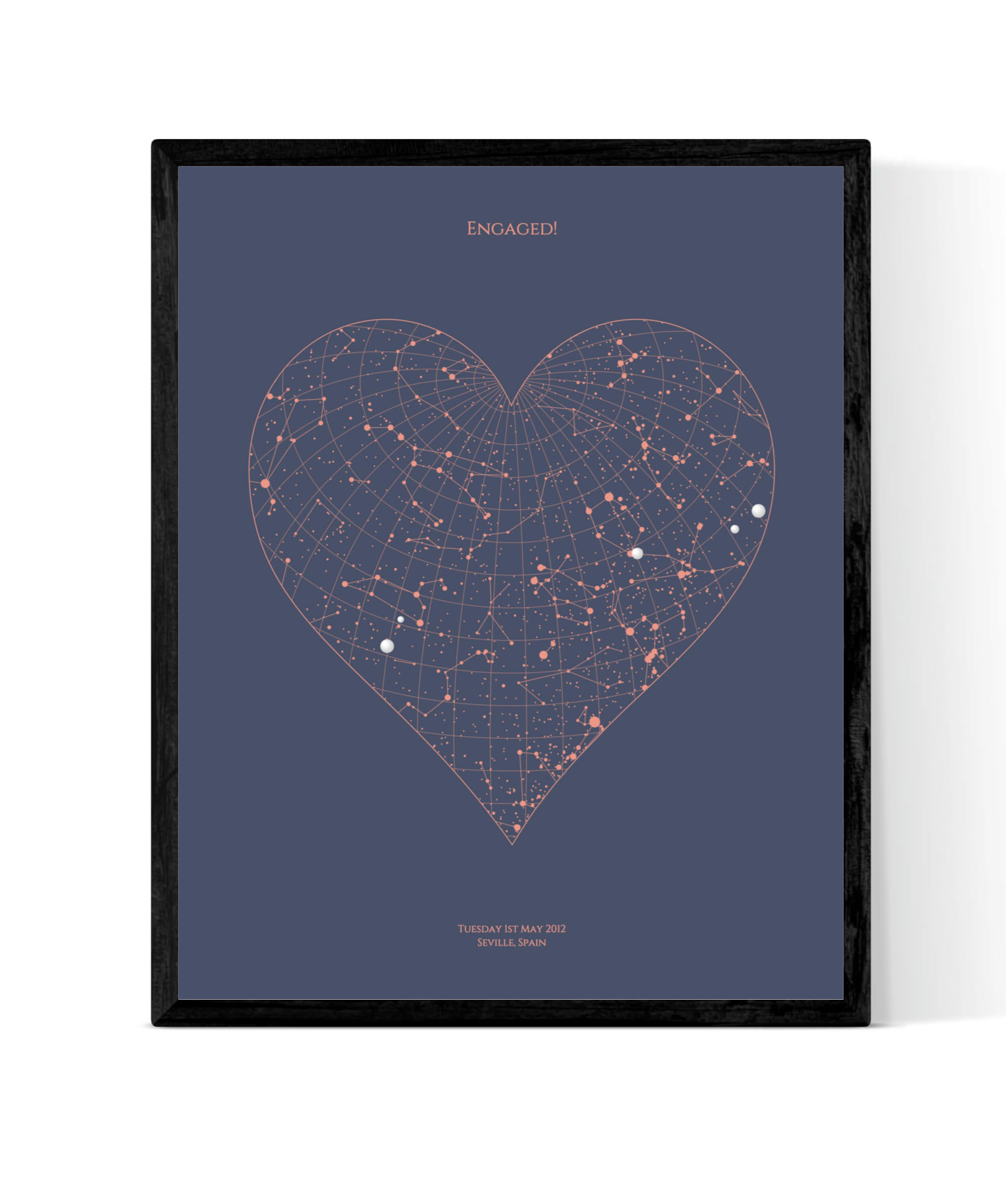 Heart Star Map - Perfect for celebrating big moments in fabulous places, this print allows you to capture the constellations in the sky at your chosen moment in time, at a precise location.