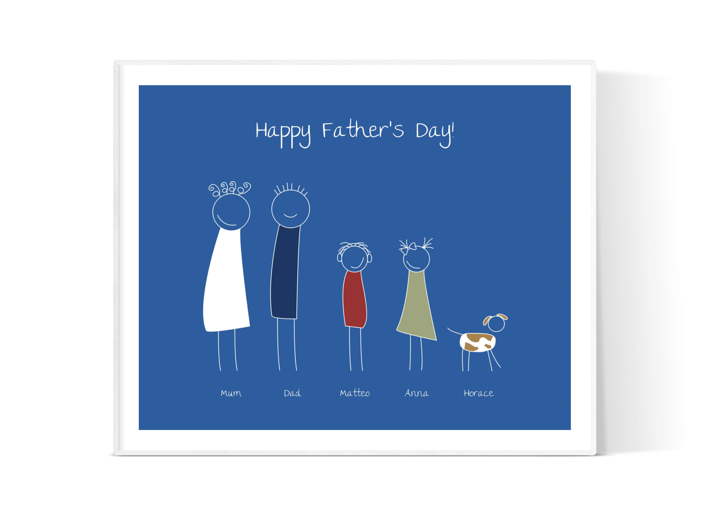 Family Portrait - Make dad smile with a fun representation of each member of the family by personalising each character with a range of accessories, clothing colours and hair styles.