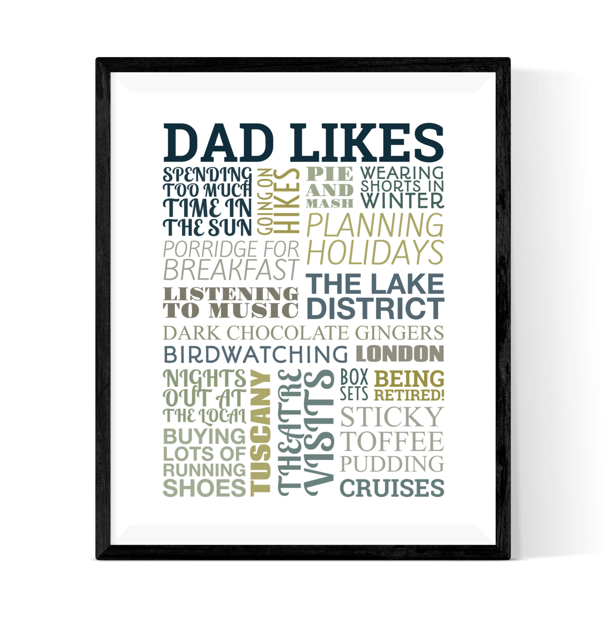 Typography Two - Enjoy collating lots of dad's interests and traits in this eye-catching design. Scroll through different layouts and choose from a wide range of colour schemes to create the perfect design.