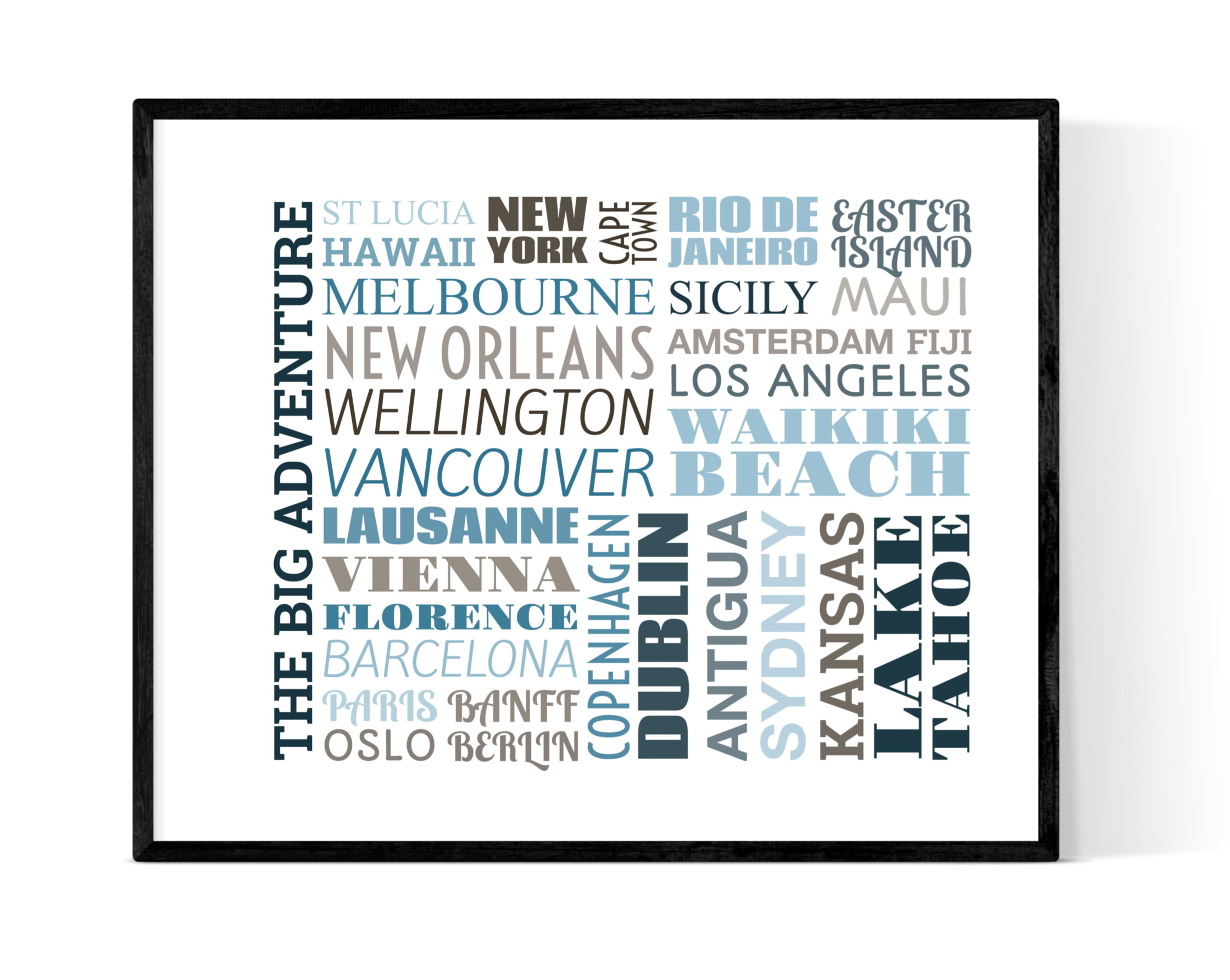 Typograpghy Two - Use this design to capture all the amazing places you've been. It's a design bound to raise a smile for years to come!