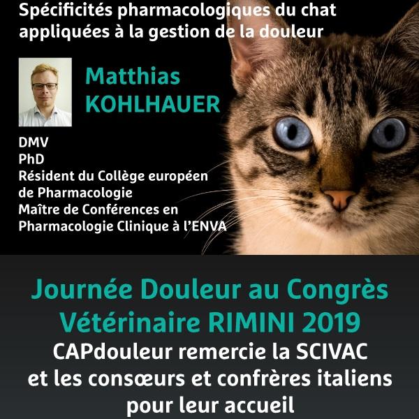 31 mai 2019 - Journée Douleur au Congrès Vétérinaire RIMINI 2019