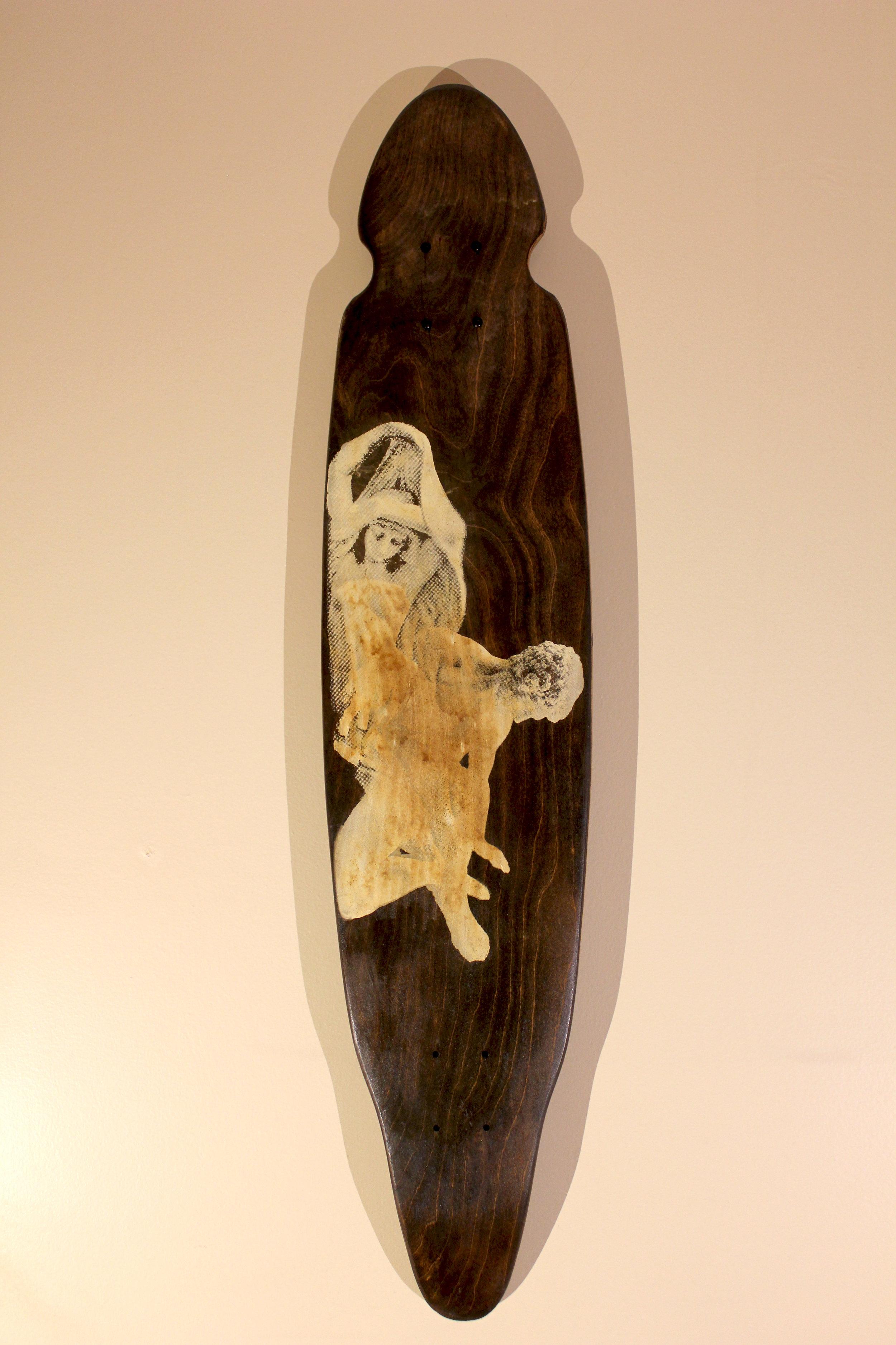 Marble   $300 longboard, acrylic ink, woodstain, wood seal