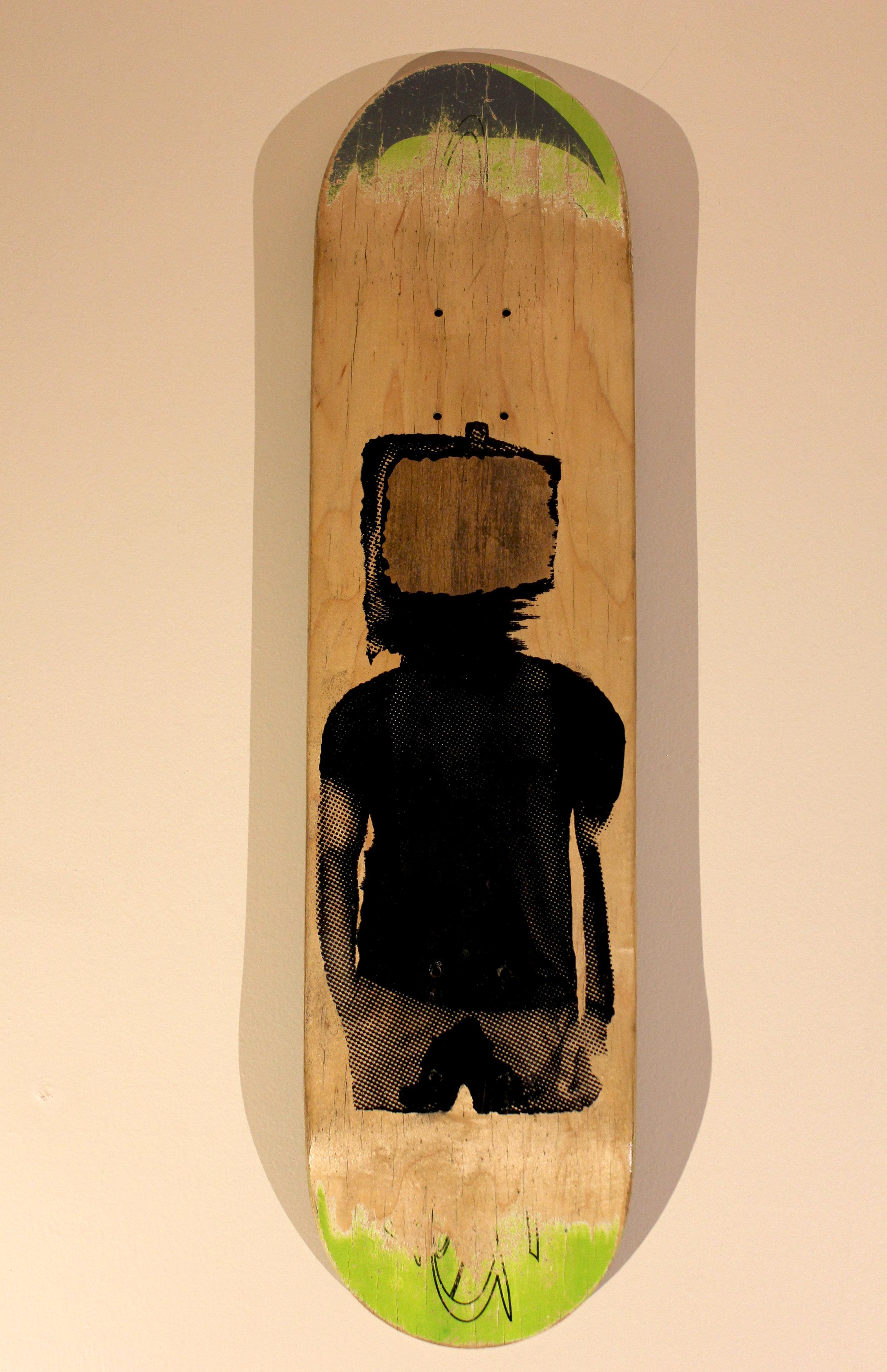 Streaming   $200 skateboard, acrylic ink, woodstain, wood seal
