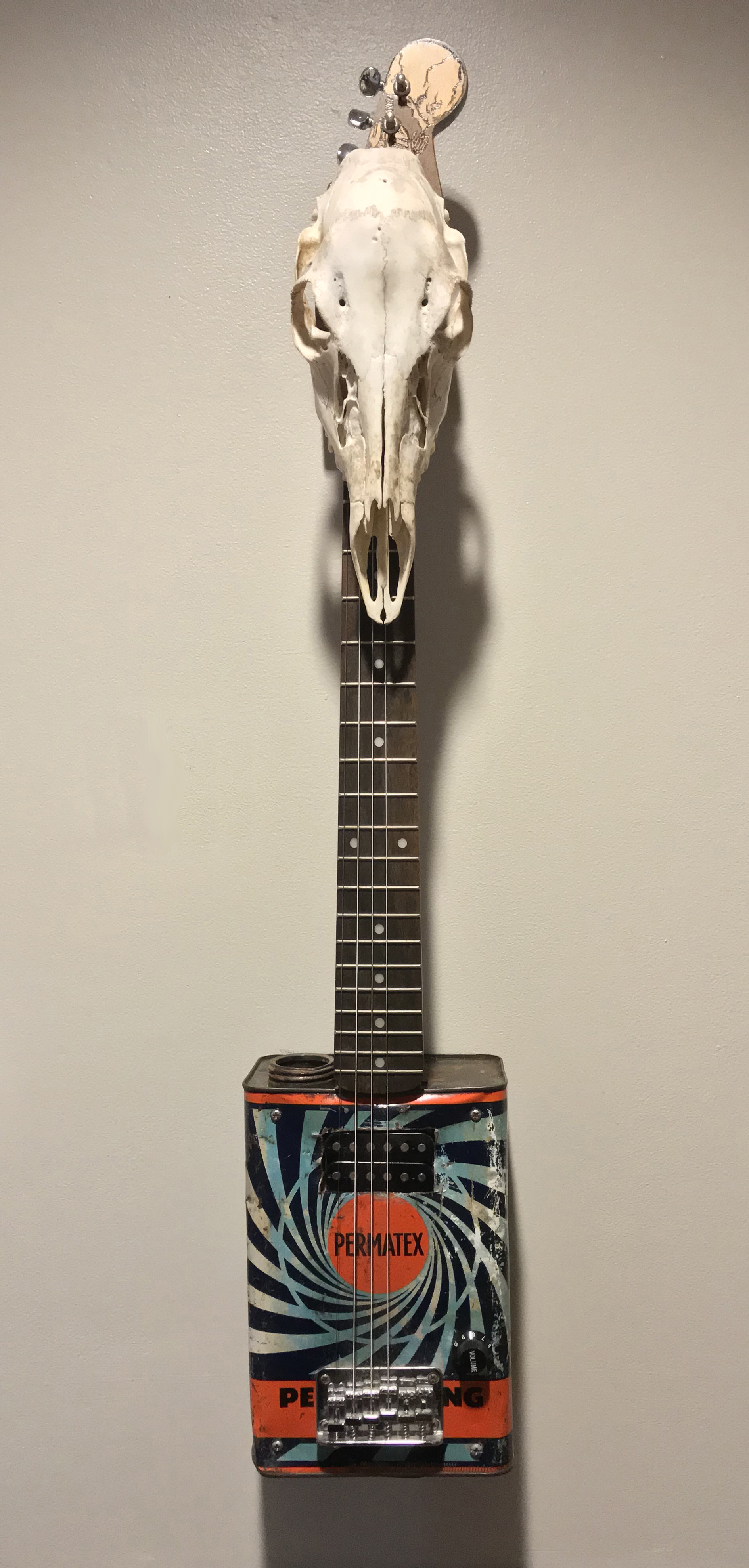 Permatex   -not for sale- vintage oil can, guitar neck, humbucker,bridge,  pecan body,  potentiometers,woodstain,  wood seal, pyrography