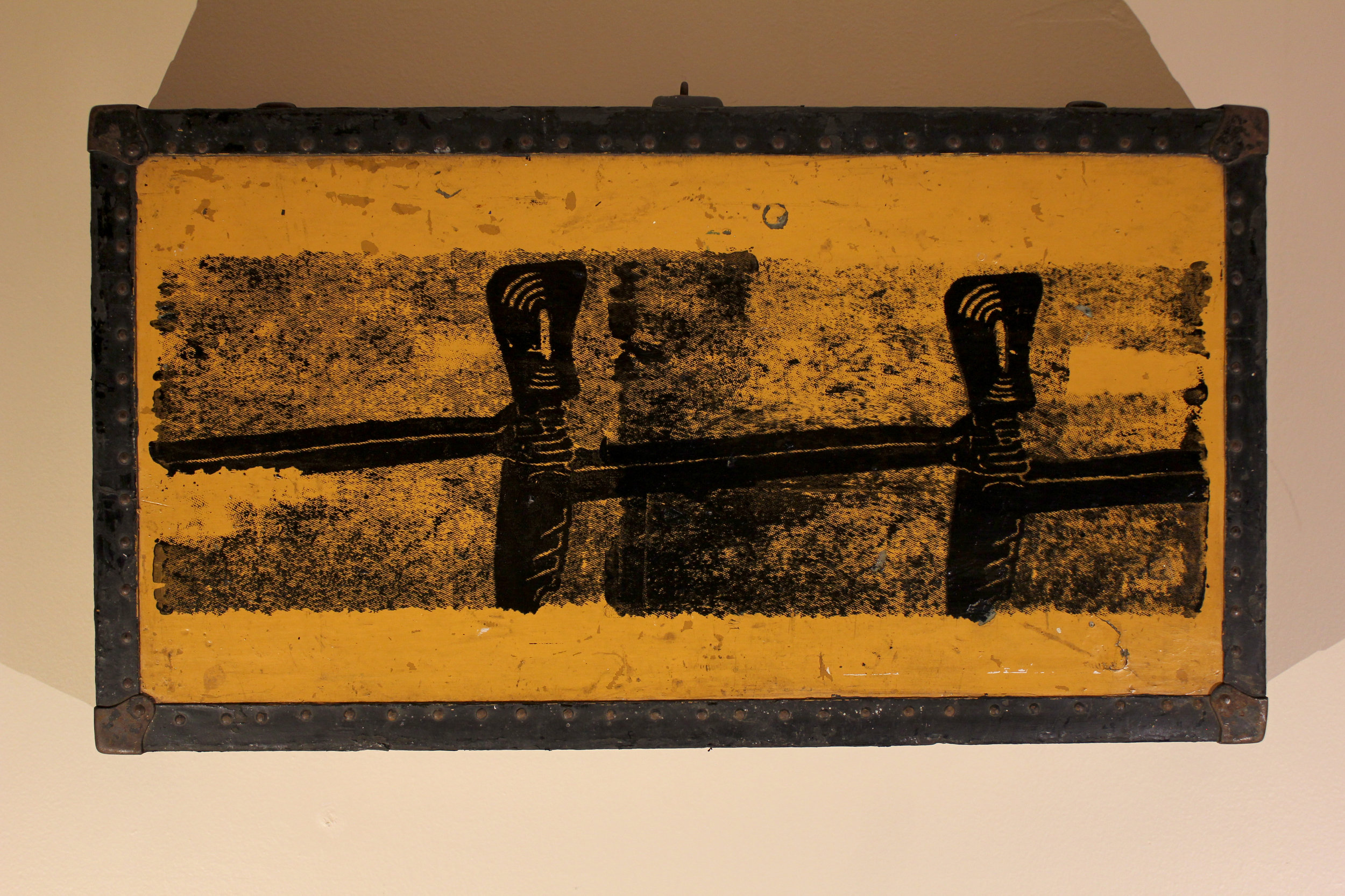 Futility   $200 vintage footlocker,  acrylic ink
