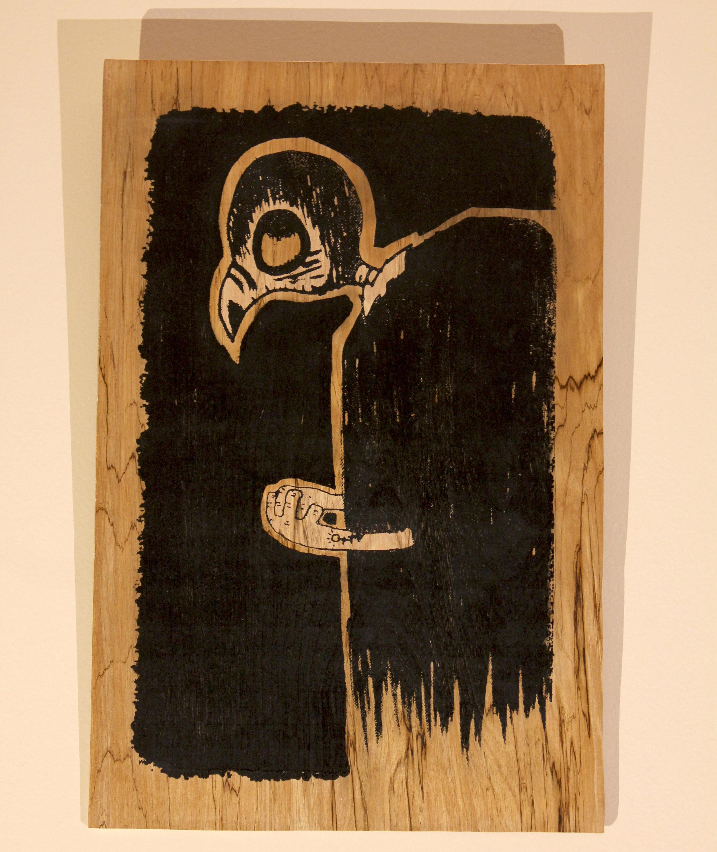 Birb Lord #1   $100 birch panel, acrylic ink, wood seal