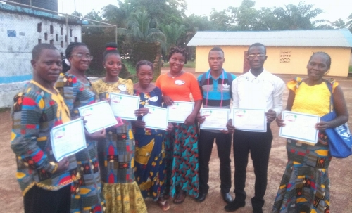 Great King Academy elementary teachers with Liberia Reads! certificates