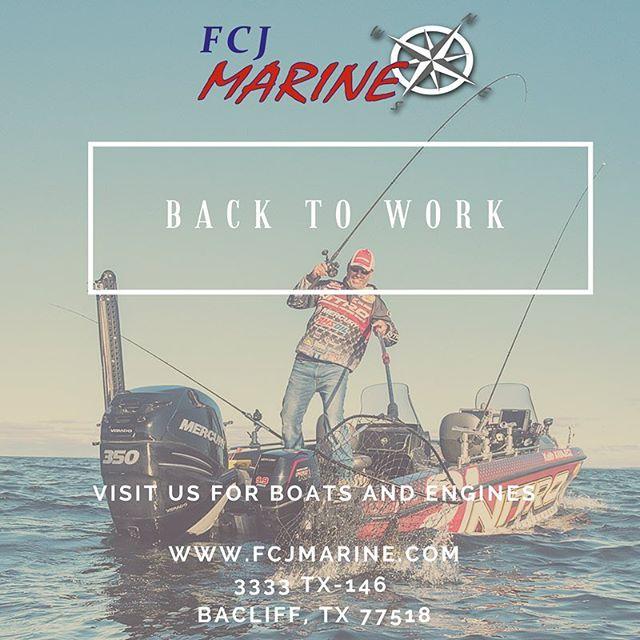Back to Work!  Visit us for service, merchandise and gear! 🚤 ⚓️ ⚓️ ⚓️ #fcjmarine #mercurymarine #bebold #350hp #sport #boatlife #fishing #hondamarine #suzukimarine #boatservice #boatmotor #backtowork #houston #southtexas #Texas #texascity #houstonstrong