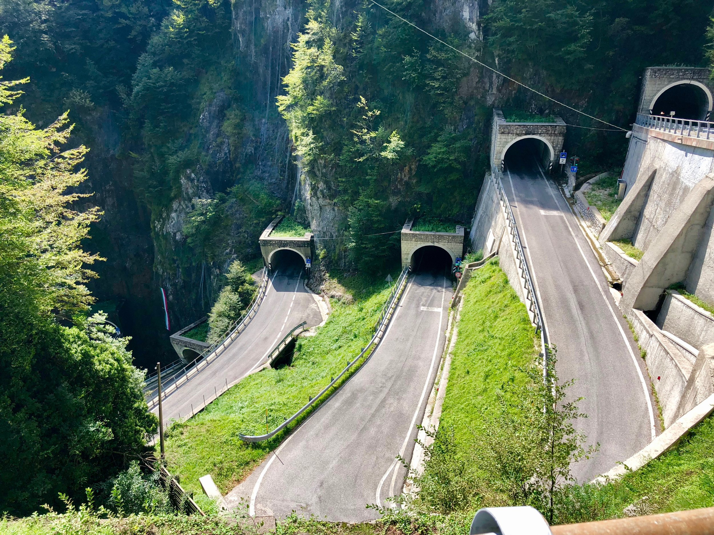 The six tunnels at the top of Passo San Boldo