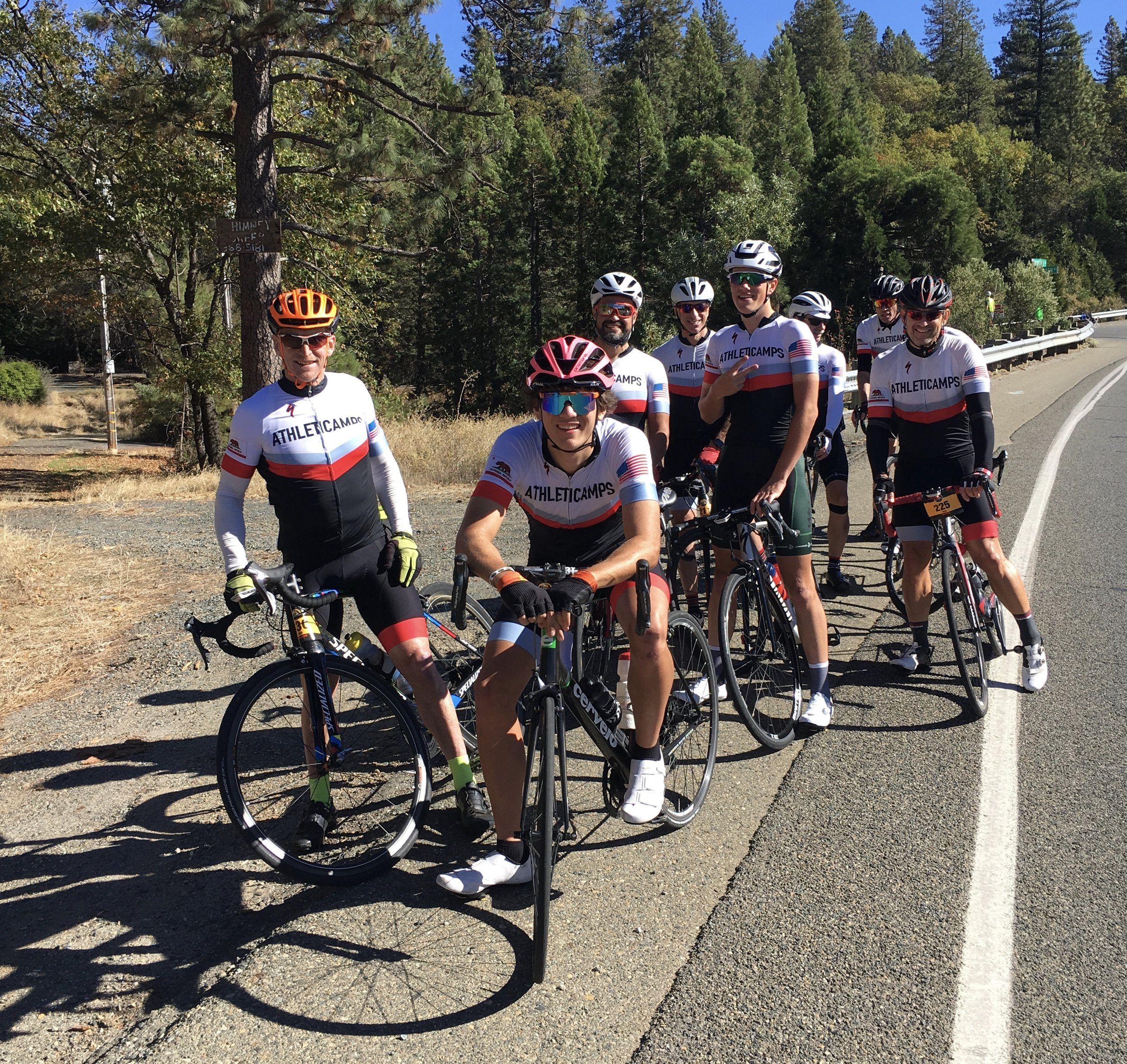 The gang on Foresthill road, ready to begin the ride back to Folsom