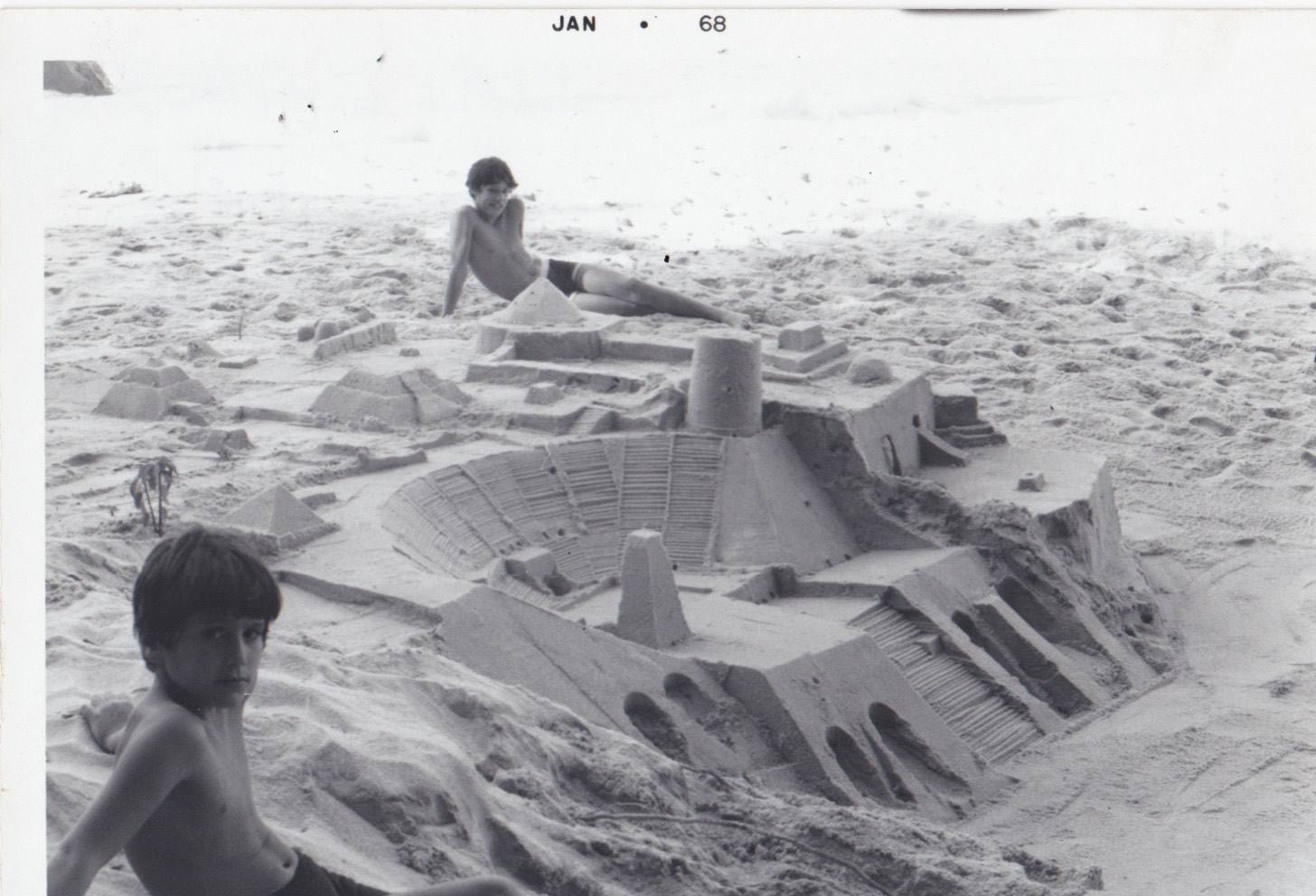 Caio and Bruno Fonseca with Gonzalo Fonseca Sand Sculpture, Mexico, 1968.jpg