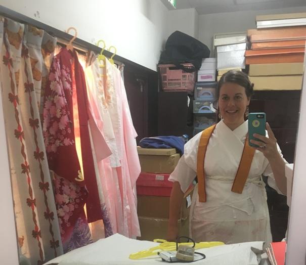 """This is the room where SUIBI puts the """"juban"""" (white slip), koshi himo belt, datejime belt, obi makura belt and white tabi socks on you for the professional kimono dressing service."""