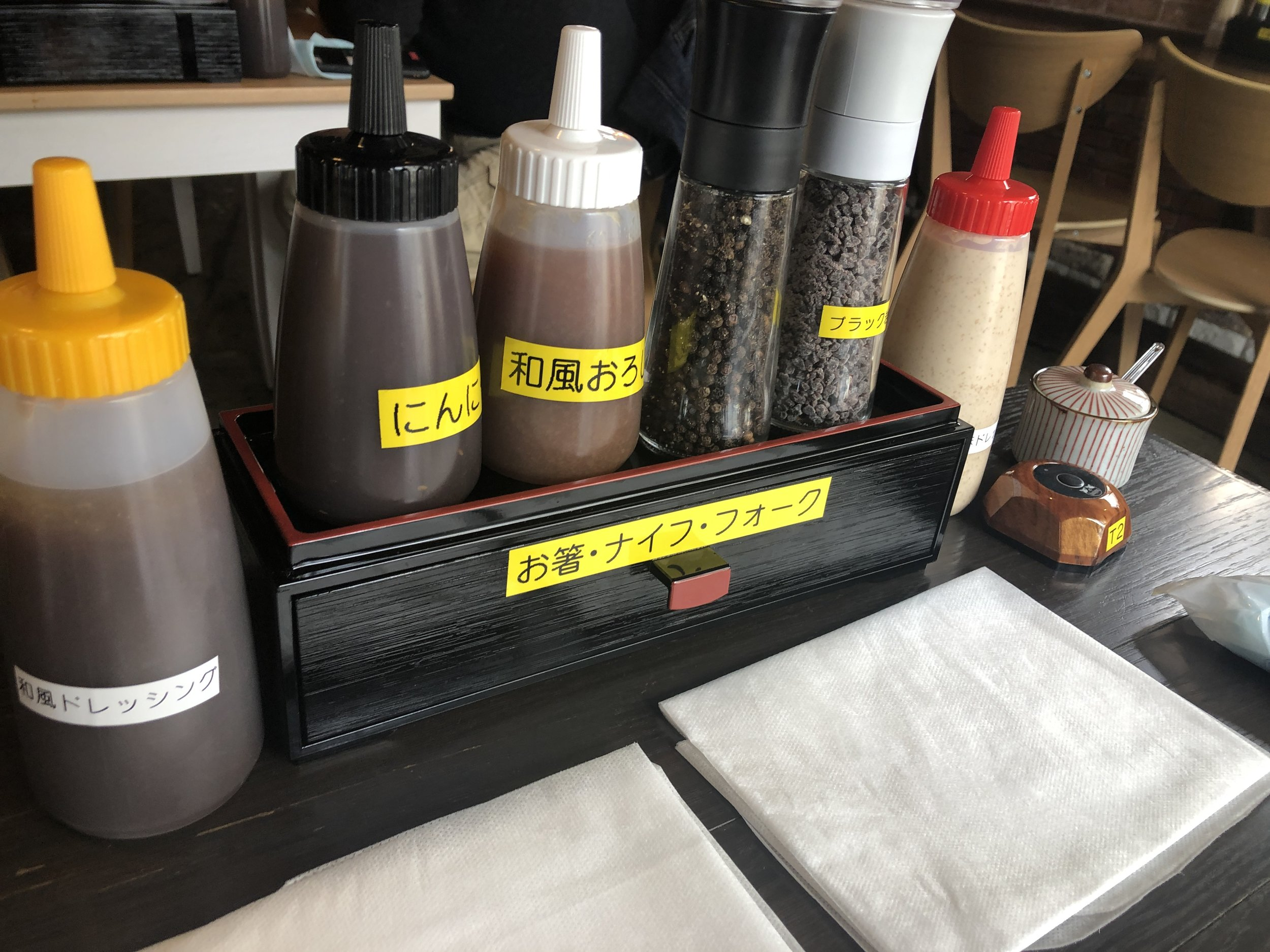 Dressing, steak sauces and salt & pepper