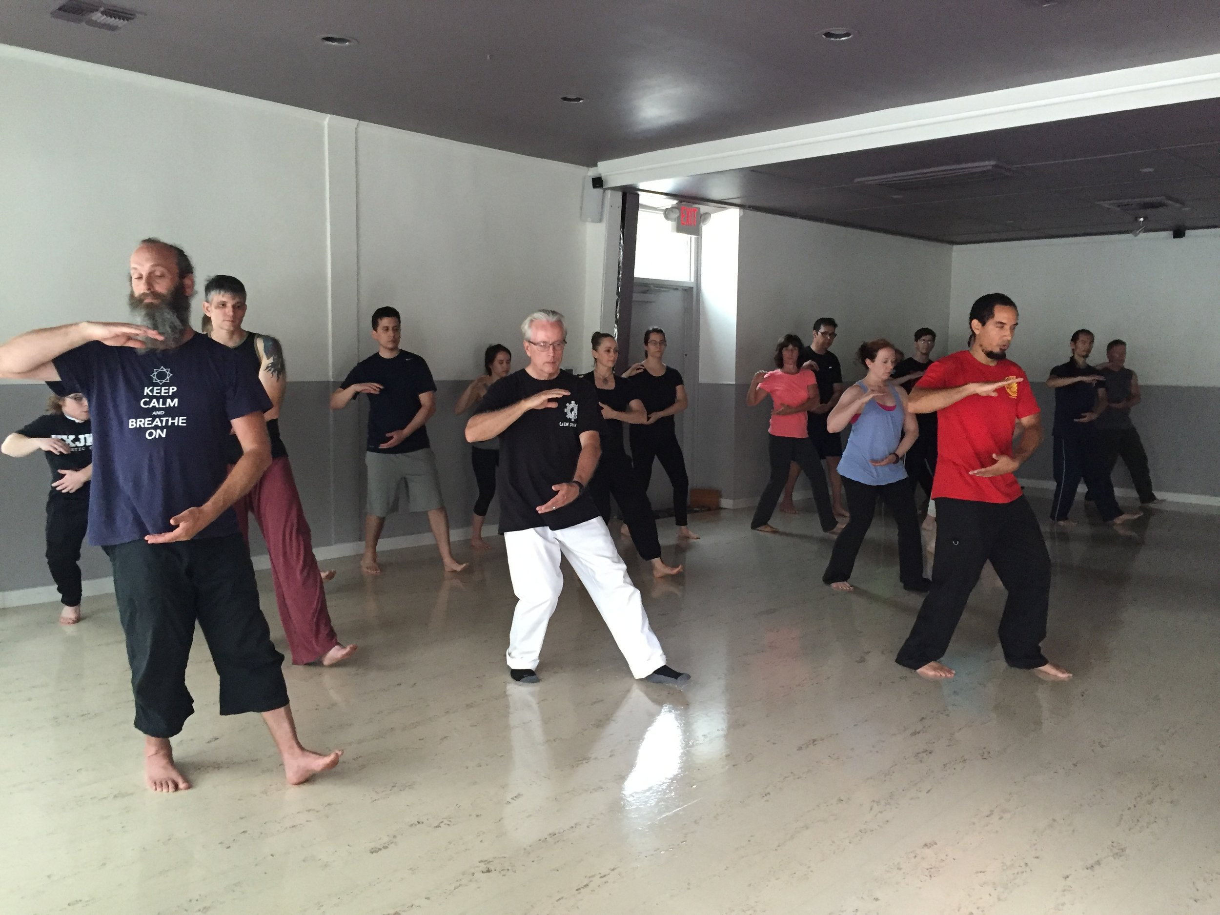 Leading a group of students in the Yang Style Tai Chi 108 Long Form at Pralaya Yoga Studio.