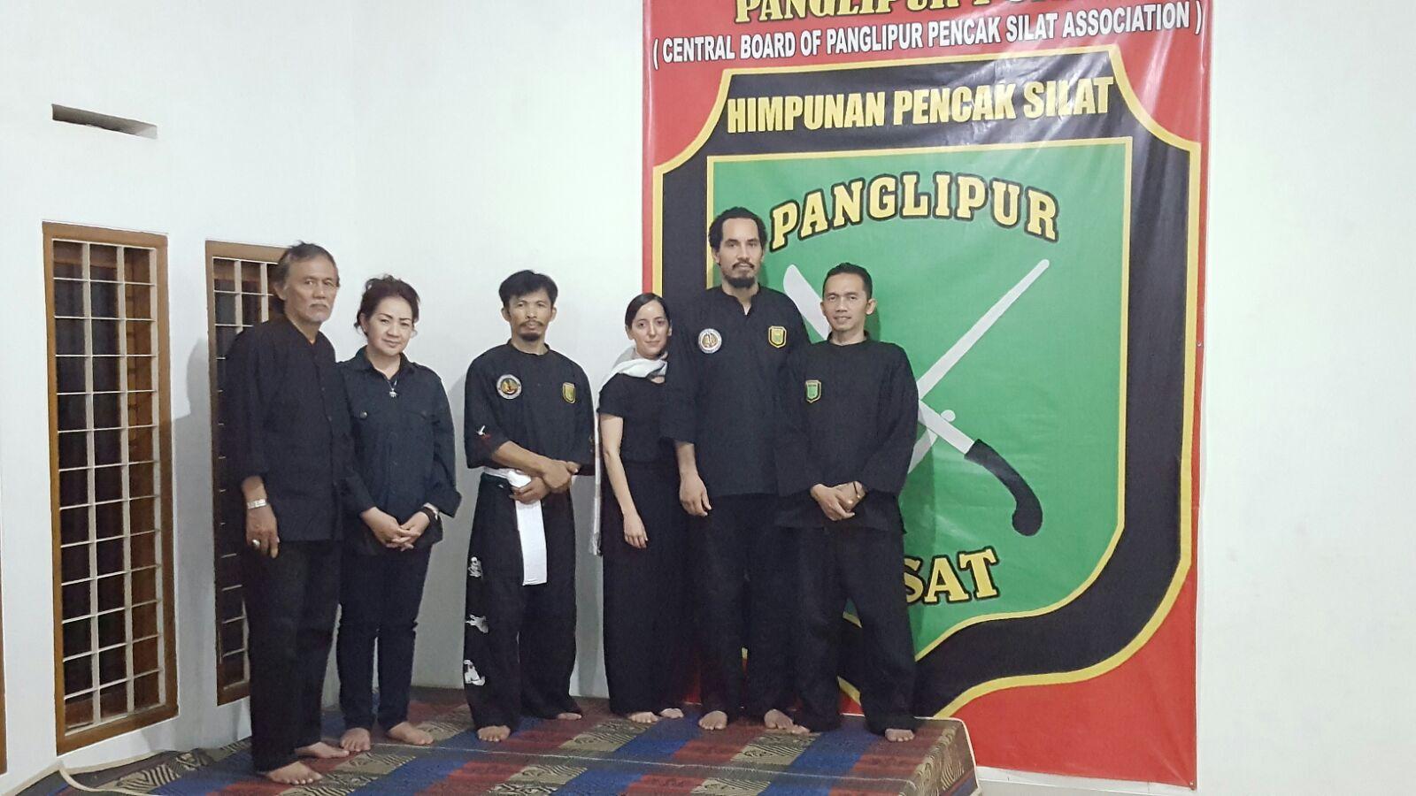 Denise and Kai at Headquarters of Pencak Silat Panglipur in Bandung, Indonesia, , Pa Haji Nana, Kang Cecep, Kang Atep, and crew.