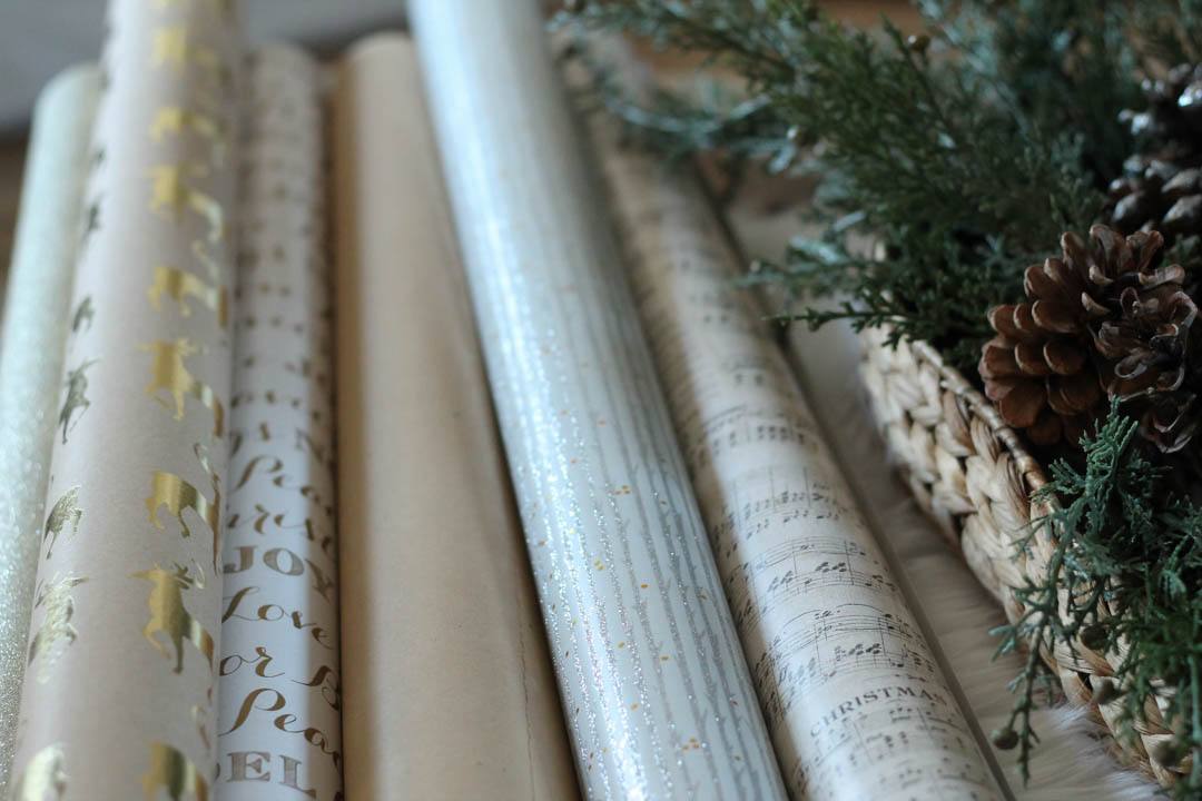Choosing wrapping paper that coordinate!