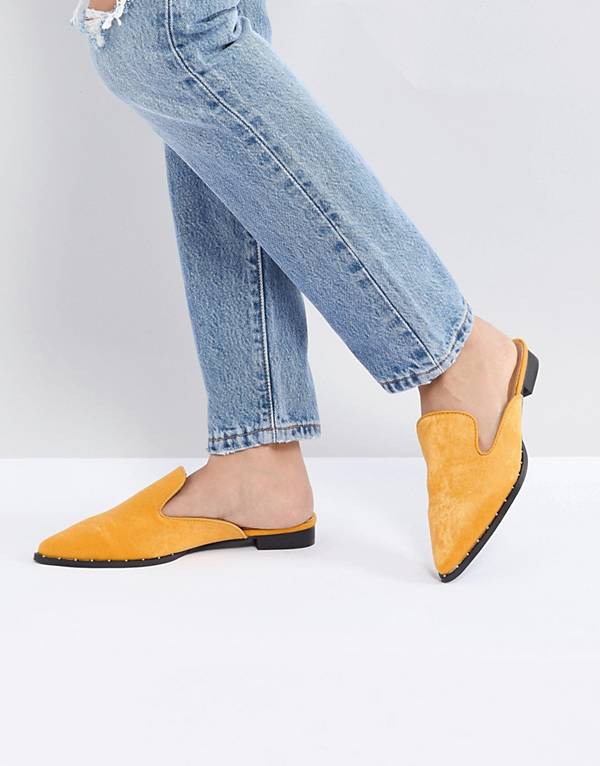 http://www.asos.com/glamorous/glamorous-mustard-satin-western-flat-mule/prd/8922355?clr=mustard&SearchQuery=mules&gridcolumn=4&gridrow=3&gridsize=4&pge=2&pgesize=72&totalstyles=119