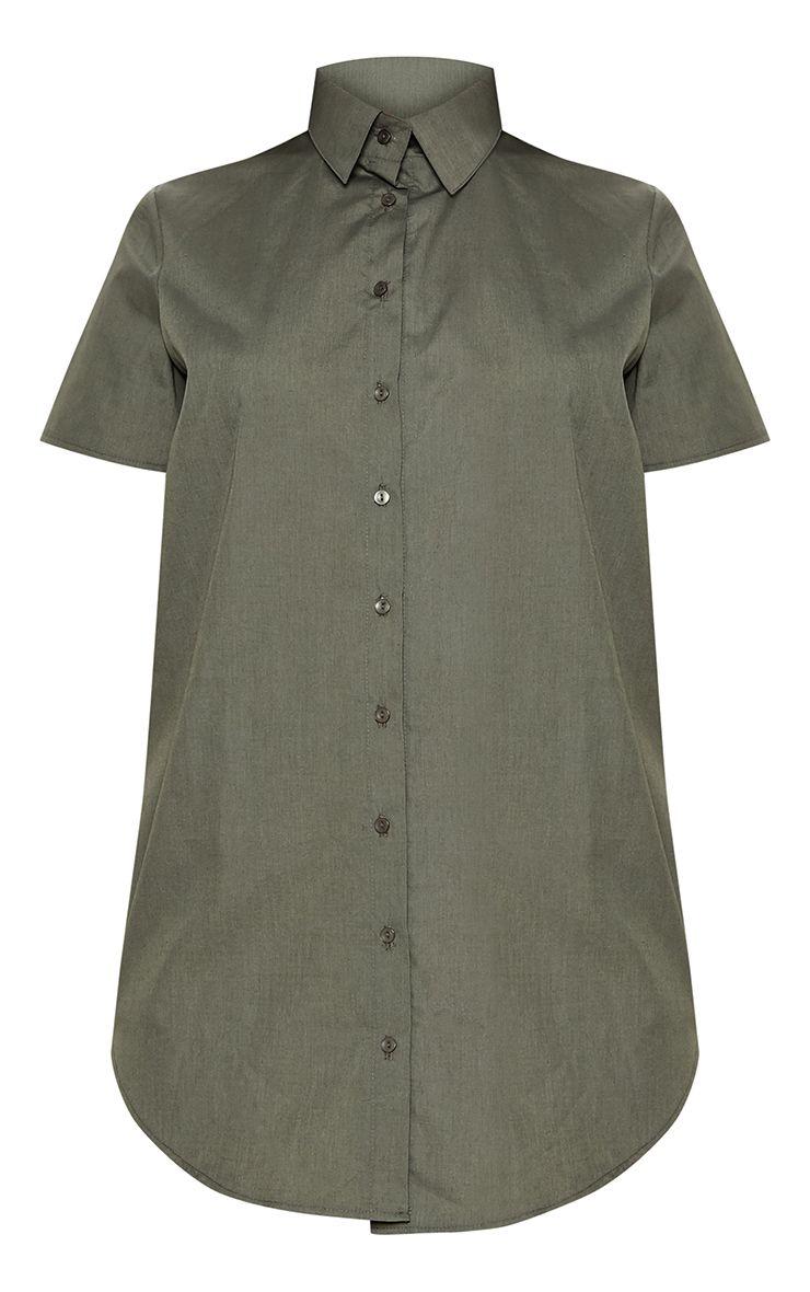 https://www.prettylittlething.us/khaki-short-sleeve-dipped-hem-shirt-dress.html