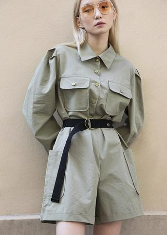 https://thefrankieshop.com/collections/bottoms/products/military-green-utility-romper-with-black-belt