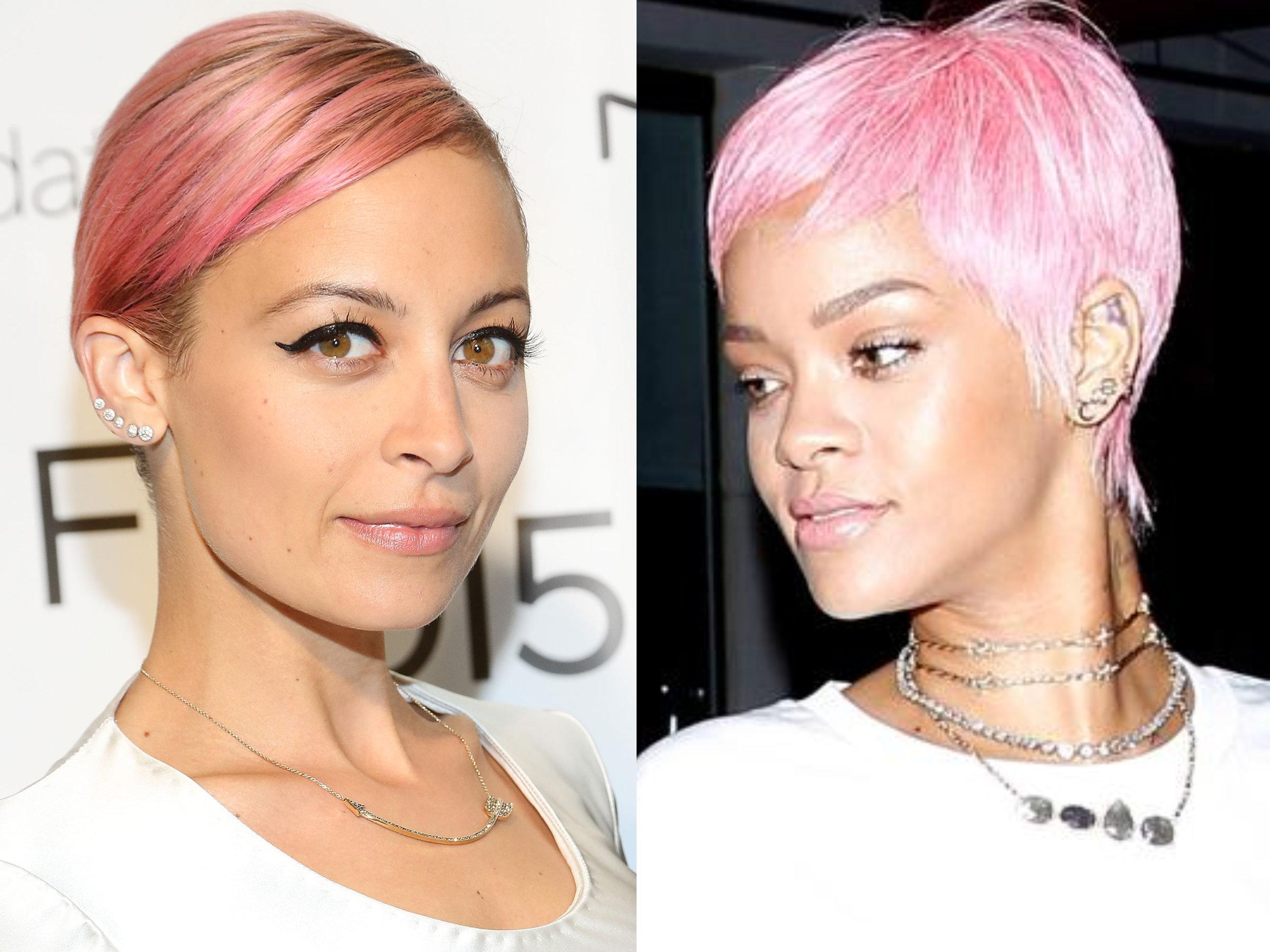 La diseñadora Nicole Richie y la cantante Rihana se atreven con el color rosa pastel