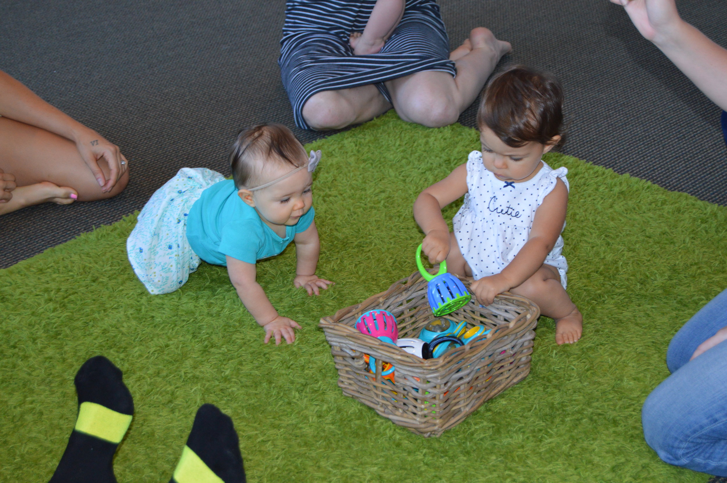 Birth to 18 Months - Seedlings is for lap babies, crawlers, and walkers. It incorporates the most current research on early childhood development and provides families a special place for learning and connecting with other parents and babies through music and movement.