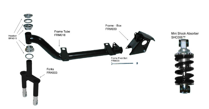 Min Scooter  Headset Frame Tube Fork Frame Box Frame Fork Bolt Deck Mini Shock Absorber Deck Hardware Kit