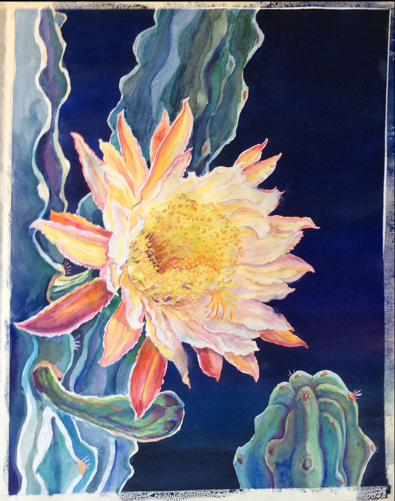 4. Transparent layers of color are gradually added to the flower petal and arms of the cactus.