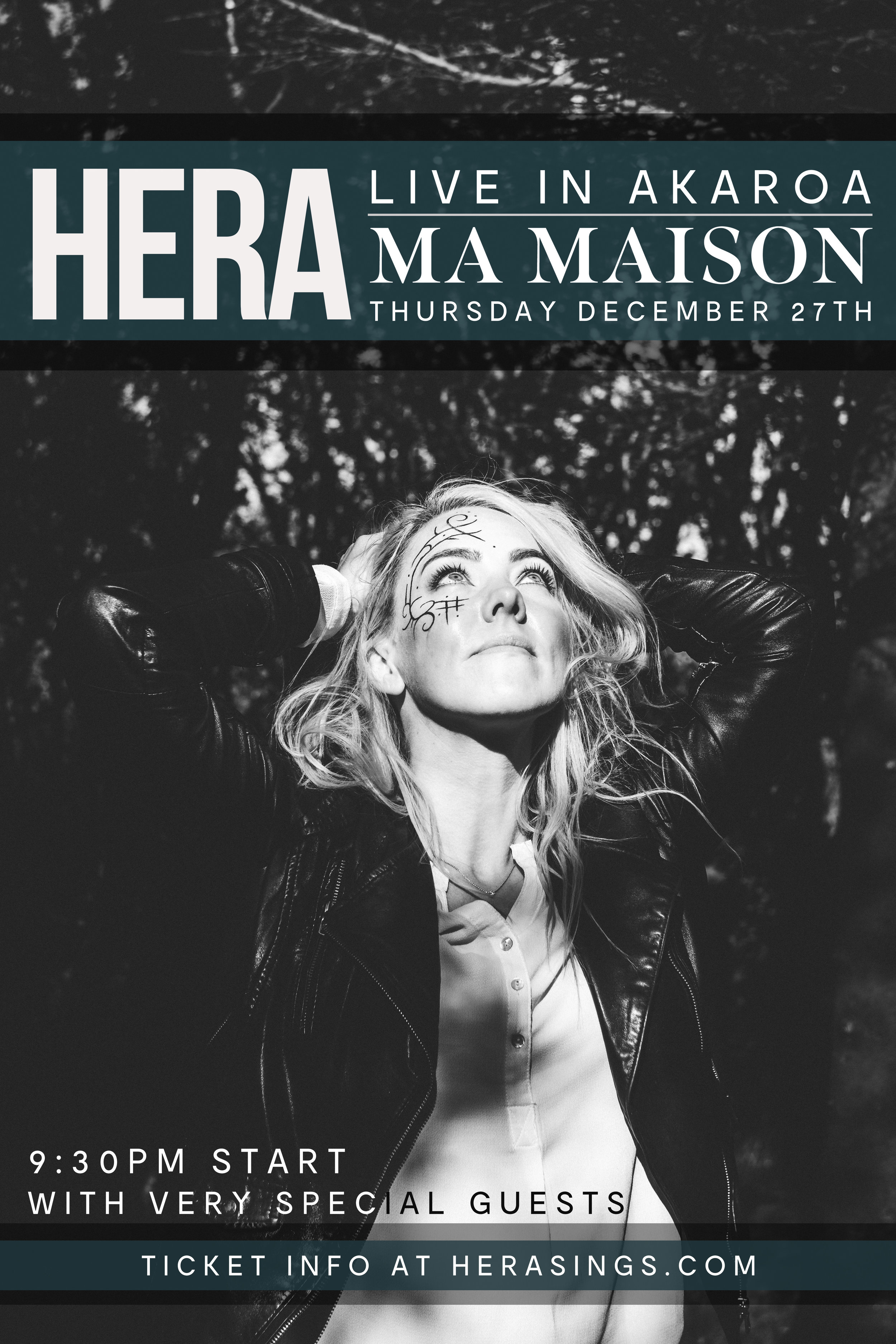 Fresh from recording in Iceland, Hera will perform a one-off concert at Akaroa's one and only Ma Maison restaurant.  9.30pm start, with very special guests..  Tickets are limited due to venue size - Pre-sales available here -  https://herasings.bandcamp.com   Icelandic born, New Zealand based singer-songwriter Hera, has toured the globe for many years playing and touring in Italy, Holland, Greenland, England, Scotland, Wales, Denmark, the United states at the SXSW music festival, the famous Glastonbury festival in the UK and of course Iceland and New Zealand to name a few. She has a gold record in Iceland, and was named 'best female artist' at the Icelandic music awards in 2003, and her song 'Makebelieve' was a finalist in the USA songwriting competition.  Her music is noticeably unique and has been influenced strongly by dual emotional investment in both of her cultures. Effortlessly blending foreign sounds and language with our familiar version of folk and acoustic pop, she will take you on a journey of discovery upon which you will hear a refreshing take on what an acoustic singer-songwriter can achieve.  French for 'My House' Ma Maison provides an intimate setting and stunning views over Akaroa harbour.