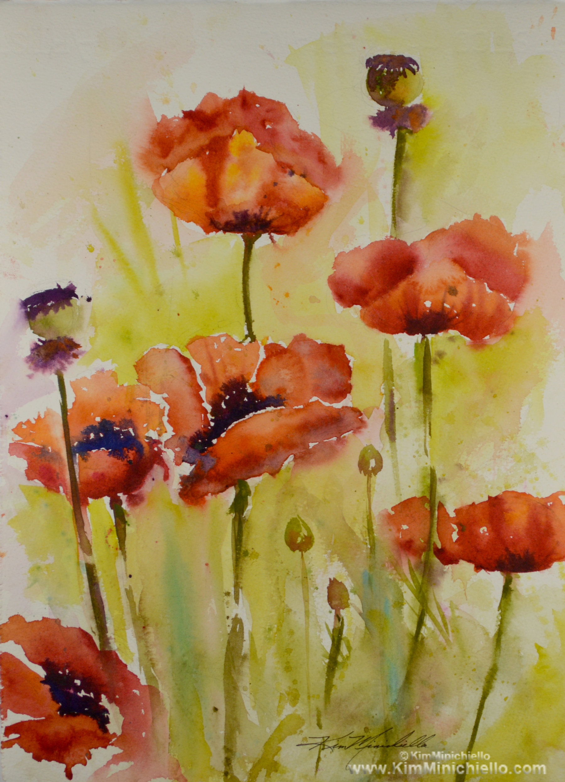 "Poppies, Watercolor on Archival Paper, 11"" x 15"""